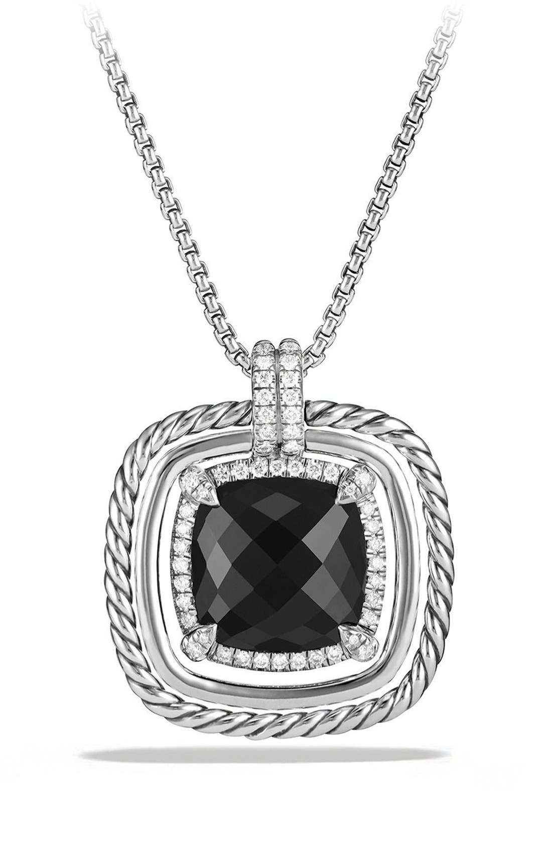 'Châtelaine' Large Pavé Bezel Pendant Necklace with Diamonds,                         Main,                         color, BLACK ONYX