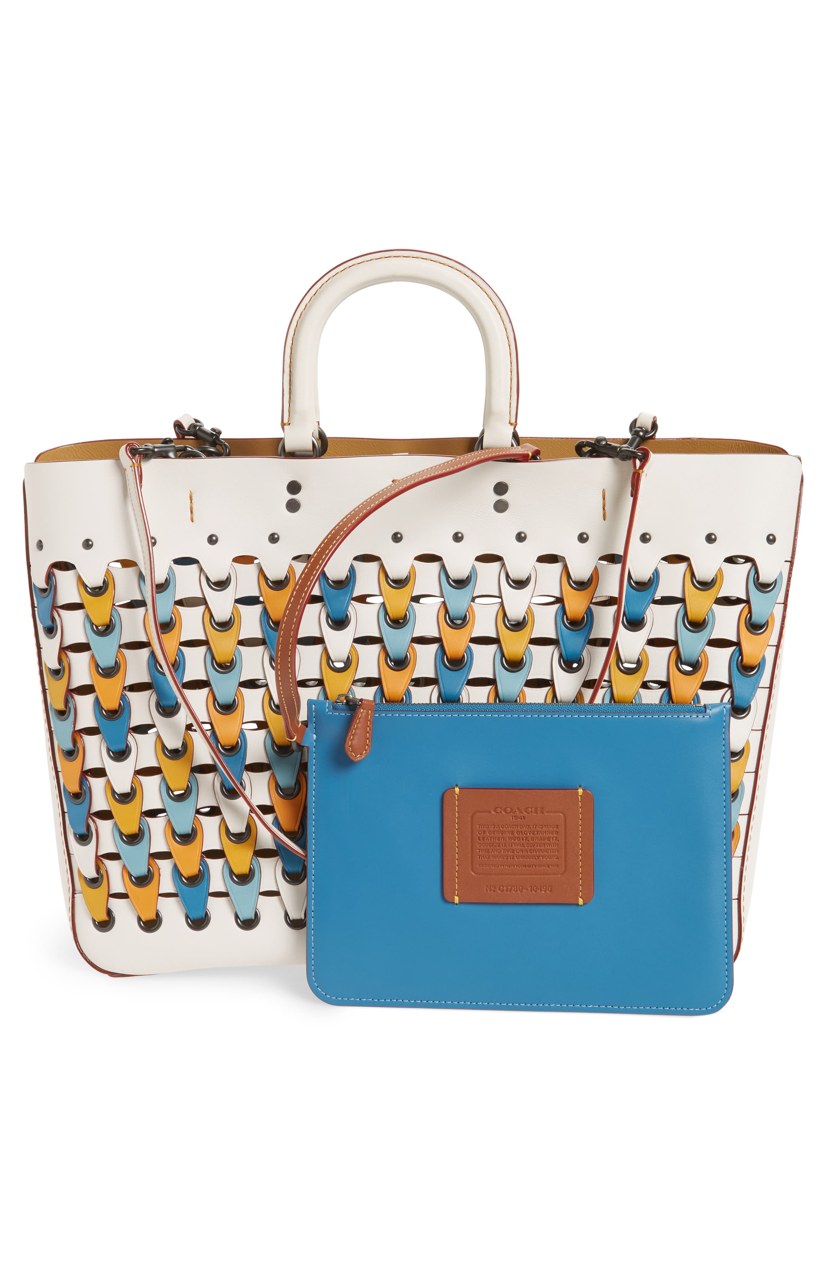 Colorblock Linked Rogue Leather Tote,                             Alternate thumbnail 3, color,                             116