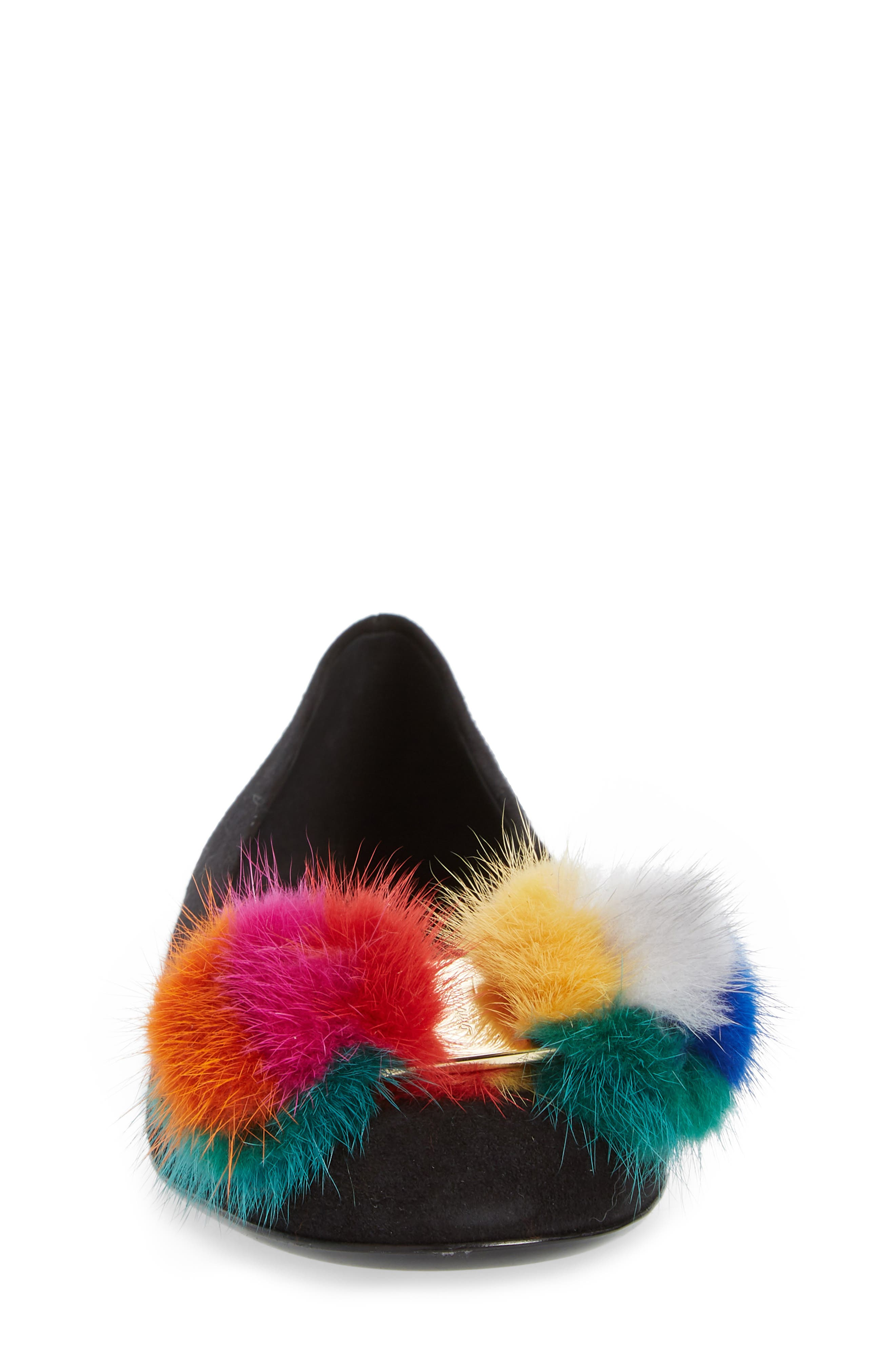 Varina Genuine Mink Fur Flat,                             Alternate thumbnail 4, color,                             001