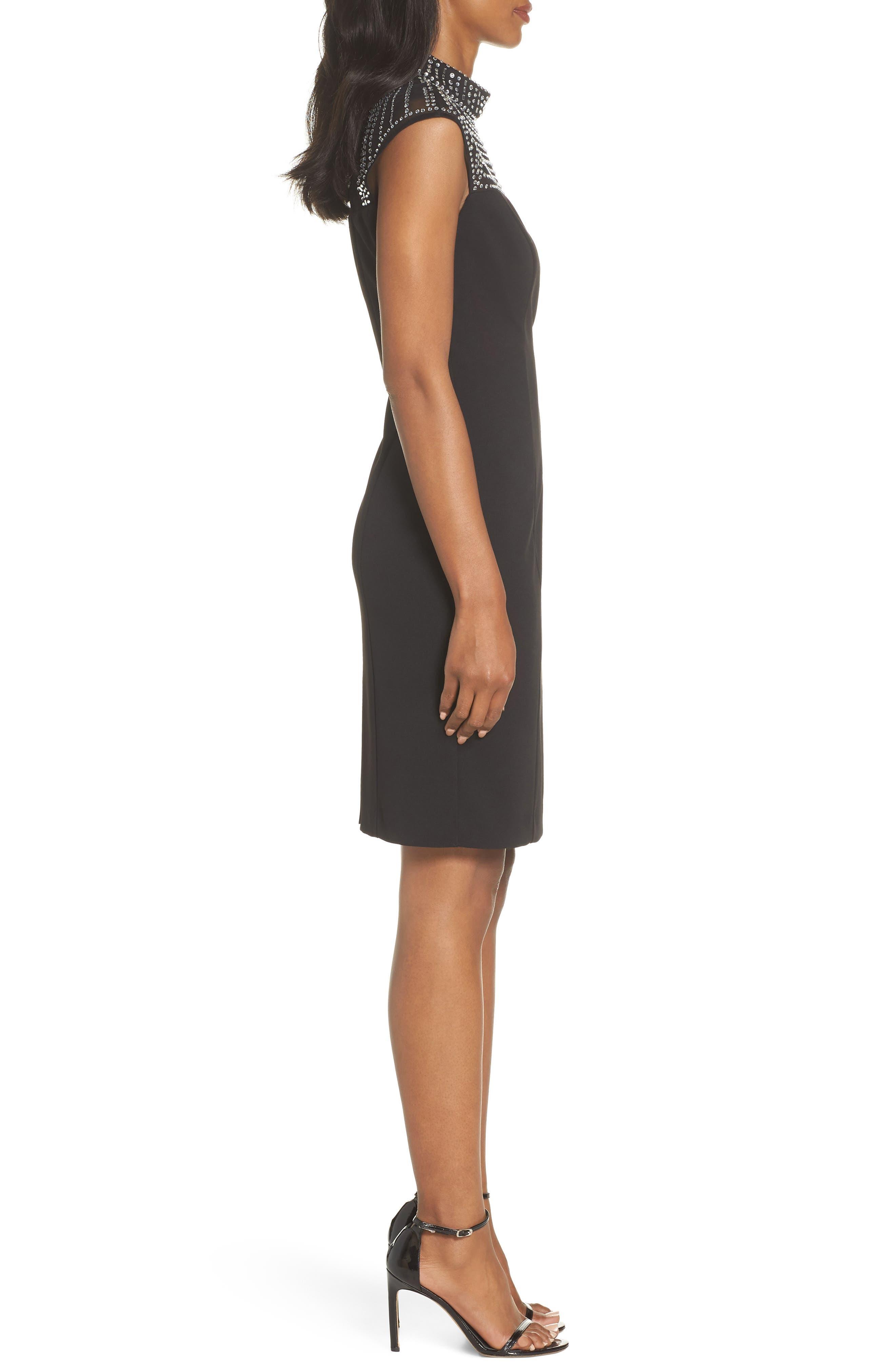 Crystal Yoke Sheath Dress,                             Alternate thumbnail 3, color,                             BLACK