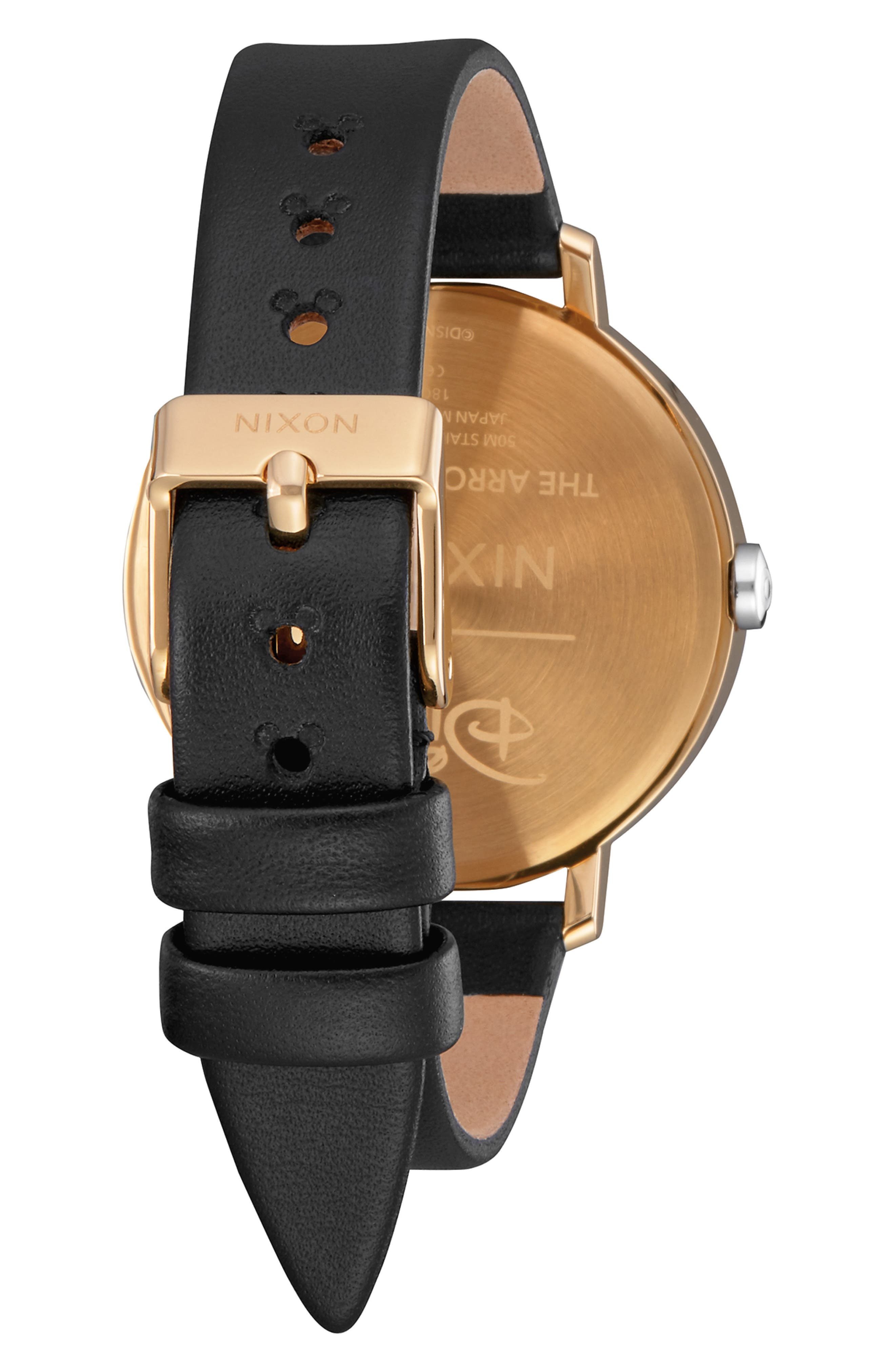 x Disney Arrow Mickey Leather Strap Watch, 38mm,                             Alternate thumbnail 2, color,                             BLACK/ WHITE/ GOLD