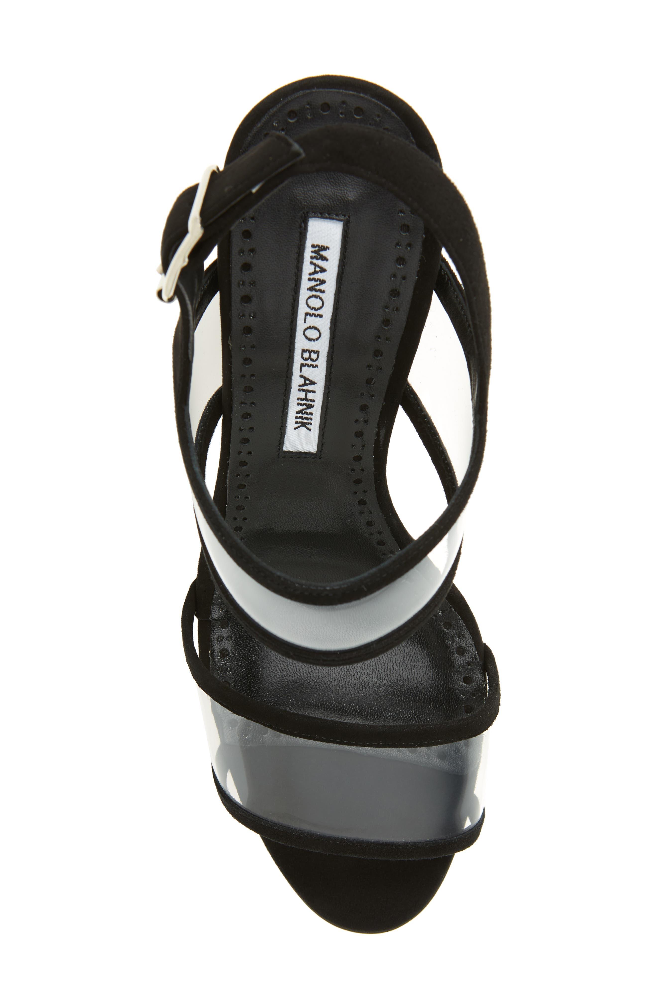 MANOLO BLAHNIK,                             Khan Two Strap Sandal,                             Alternate thumbnail 5, color,                             BLACK SUEDE