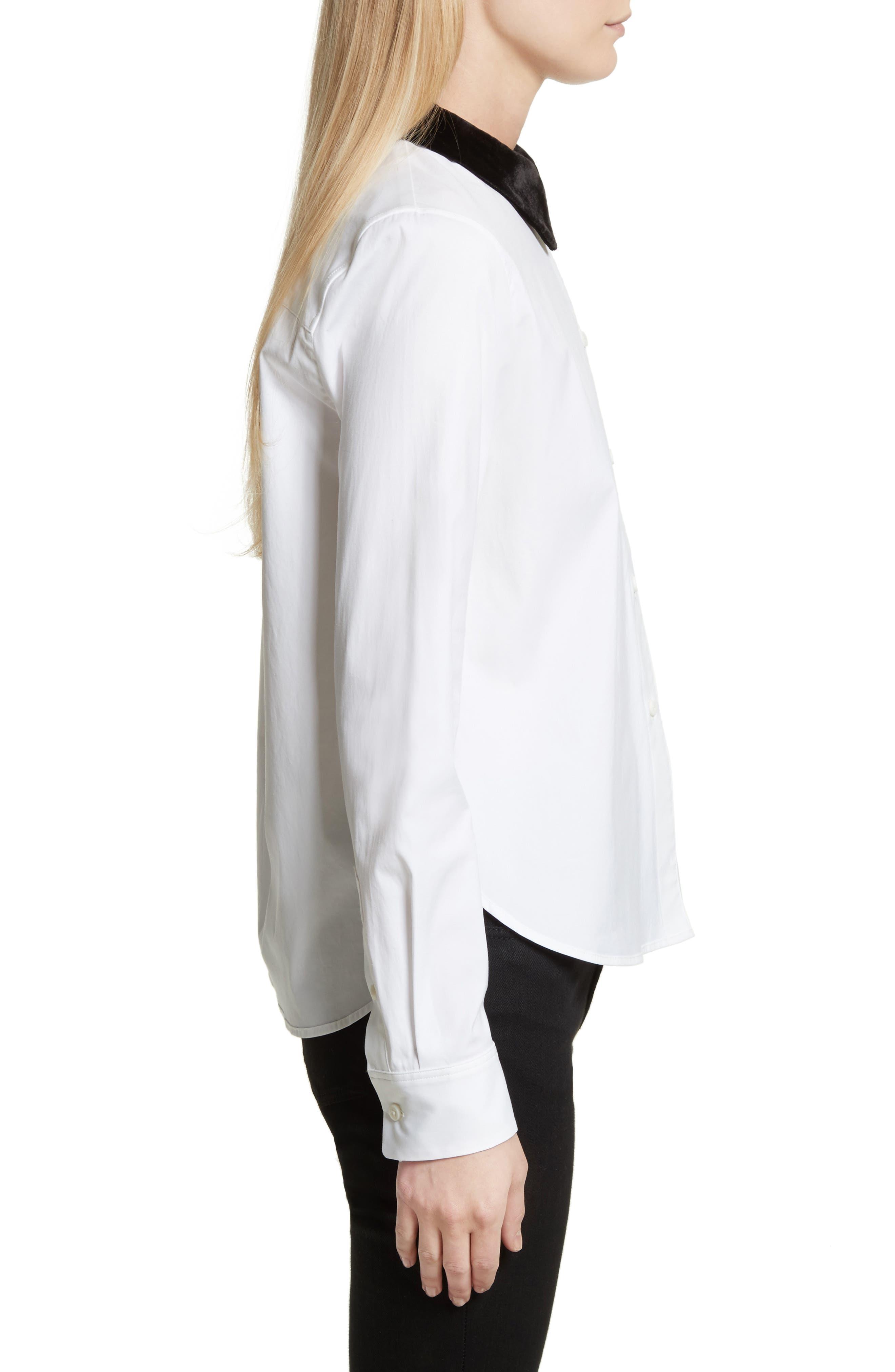 Velvet Collar Stretch Cotton Shirt,                             Alternate thumbnail 3, color,