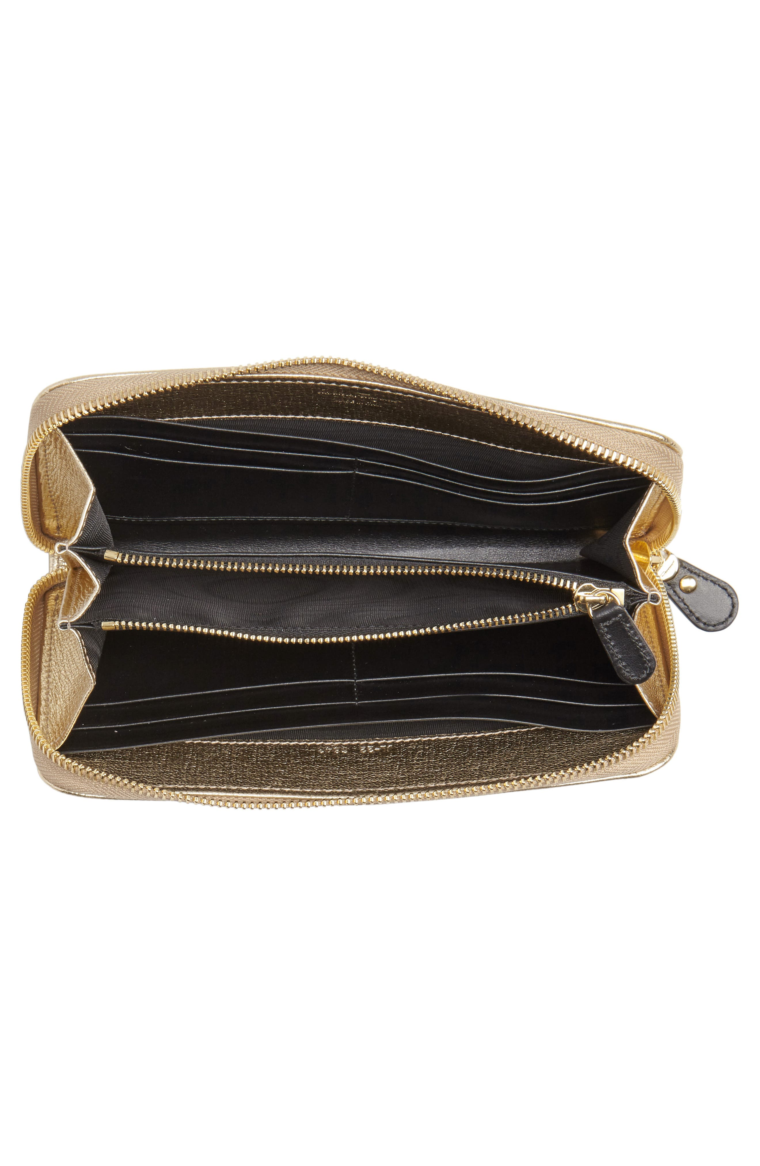 Quilted Gancio Leather Zip Around Wallet,                             Alternate thumbnail 4, color,                             GOLD METALLIC LEATHER