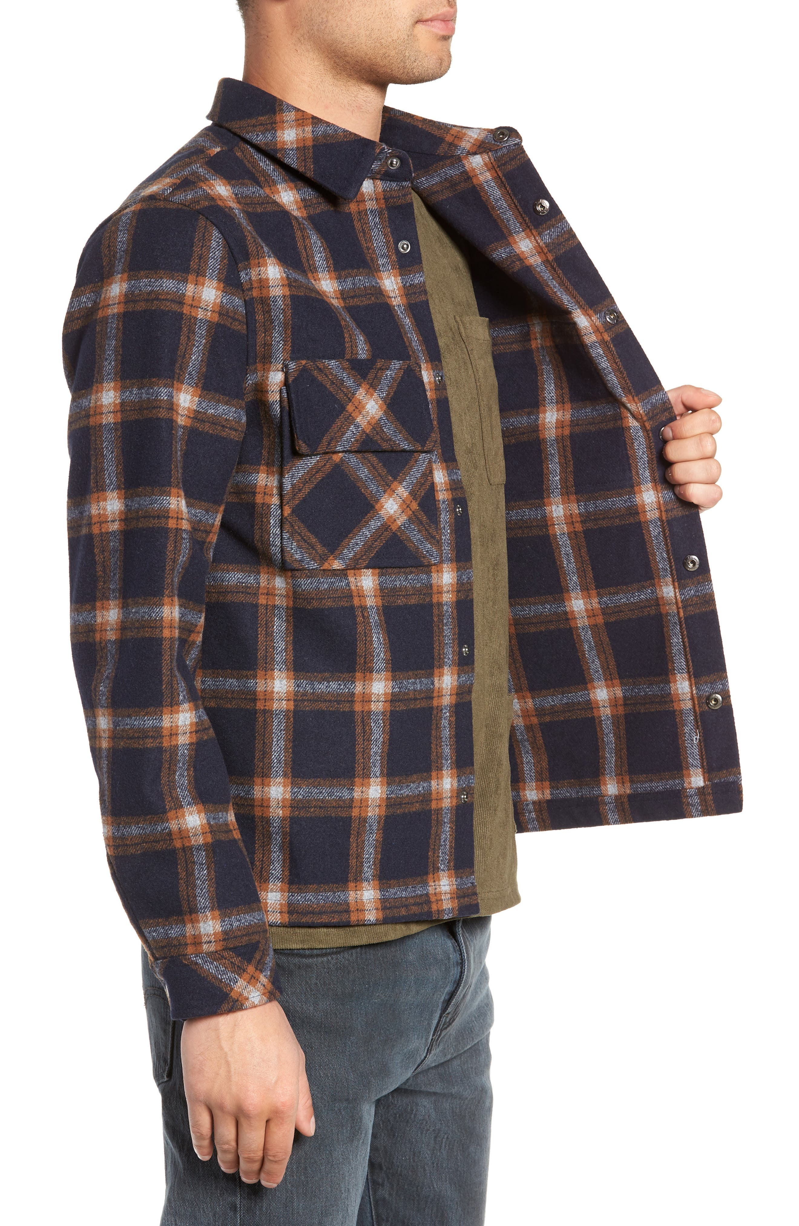 NATIVE YOUTH,                             Check Flannel Shirt,                             Alternate thumbnail 4, color,                             NAVY