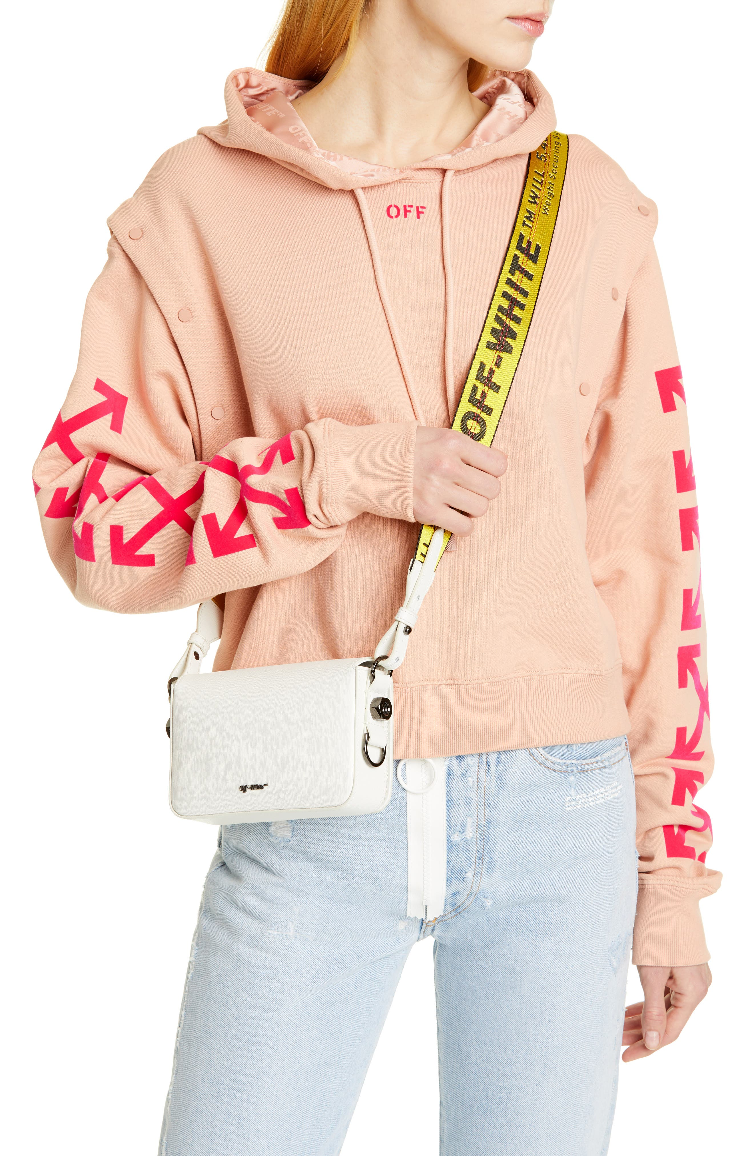 Mini Leather Flap Bag,                             Alternate thumbnail 2, color,                             WHITE NO COLOR