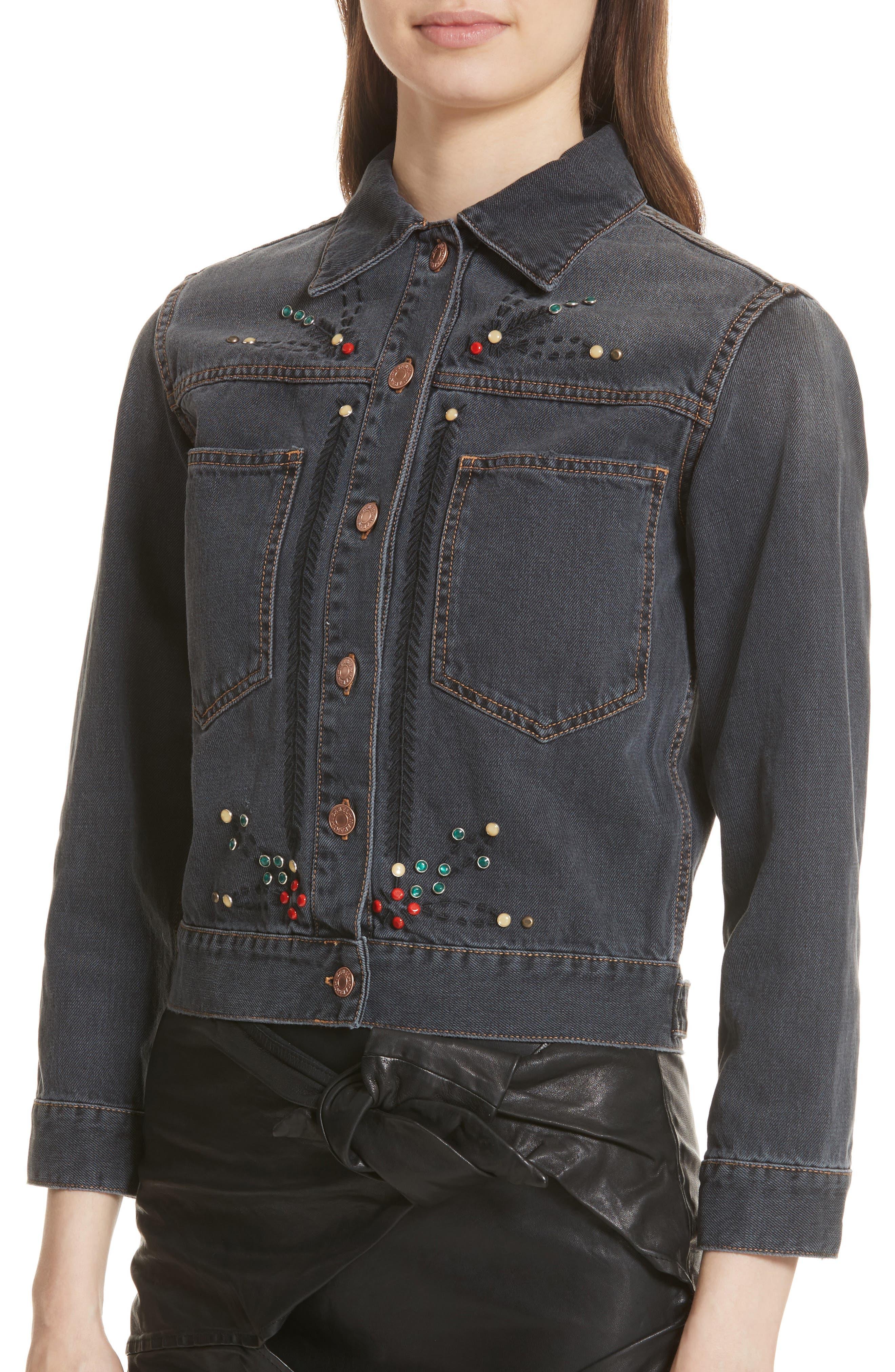 Isabel Marant Étoile Cabella Embellished Denim Jacket,                             Alternate thumbnail 4, color,