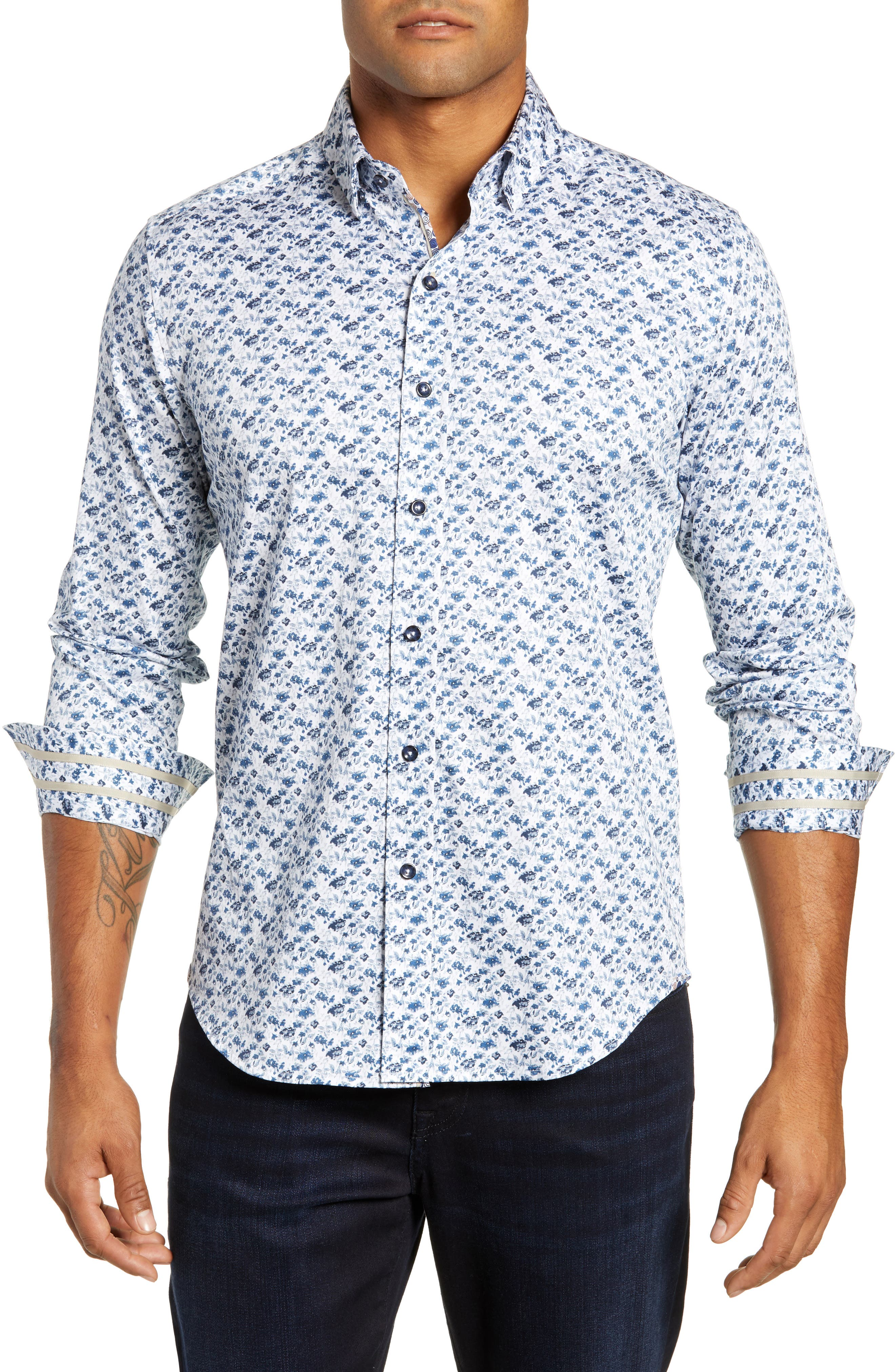 Tiller Tailored Fit Sport Shirt,                             Main thumbnail 1, color,                             WHITE