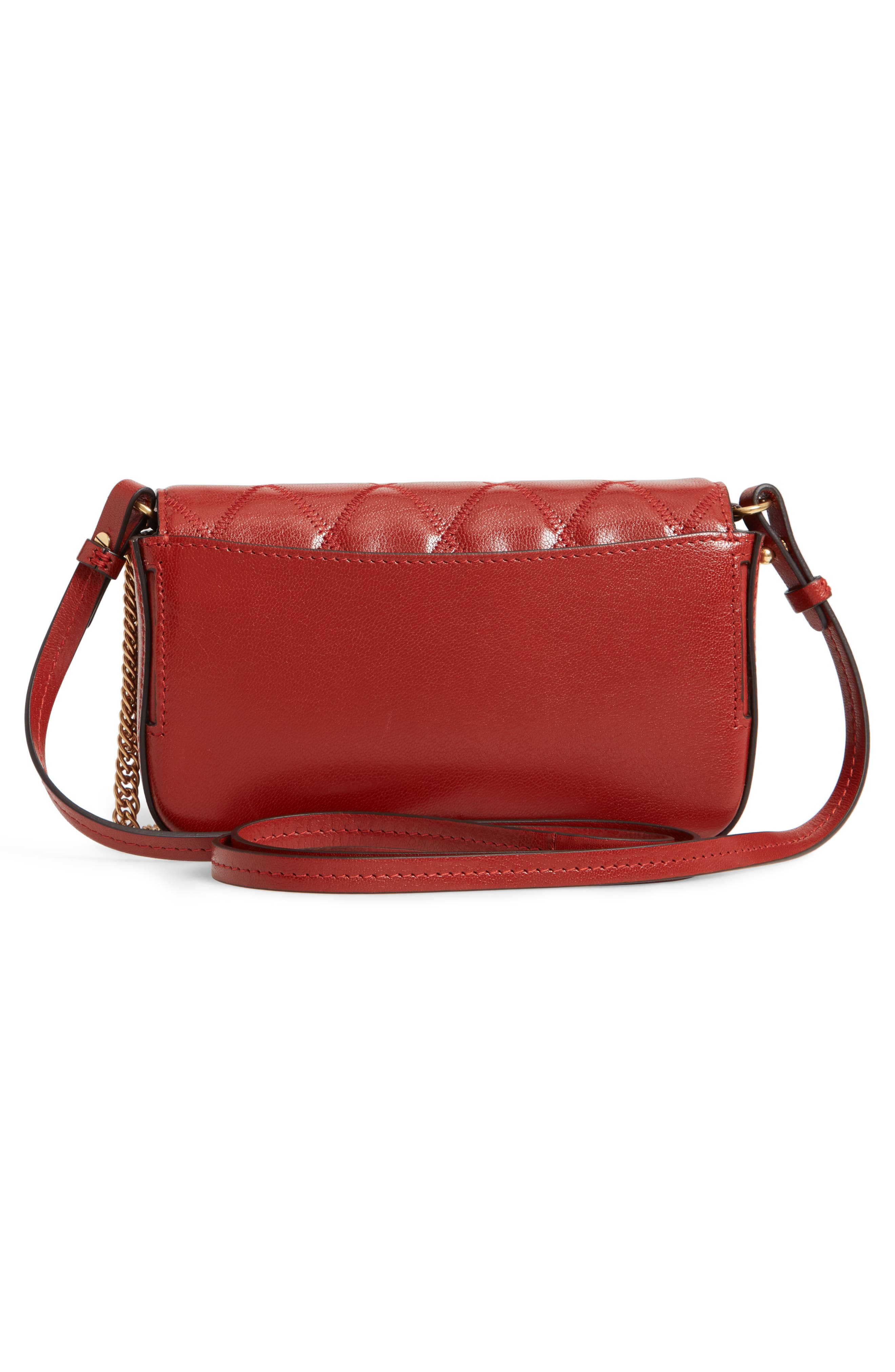 Mini Pocket Quilted Convertible Leather Bag,                             Alternate thumbnail 4, color,                             TERRACOTTA