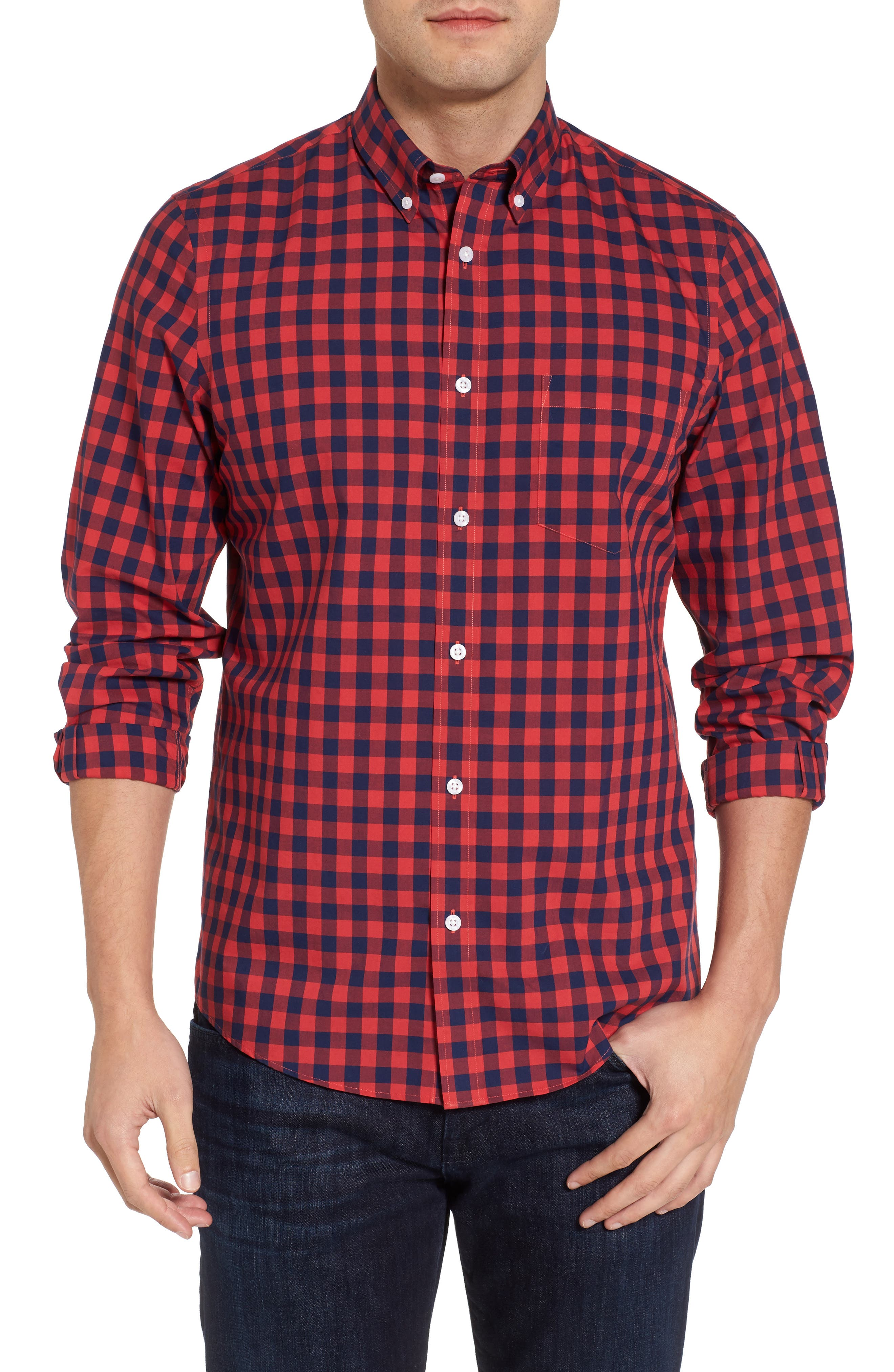 Regular Fit Gingham Sport Shirt,                         Main,                         color, 410