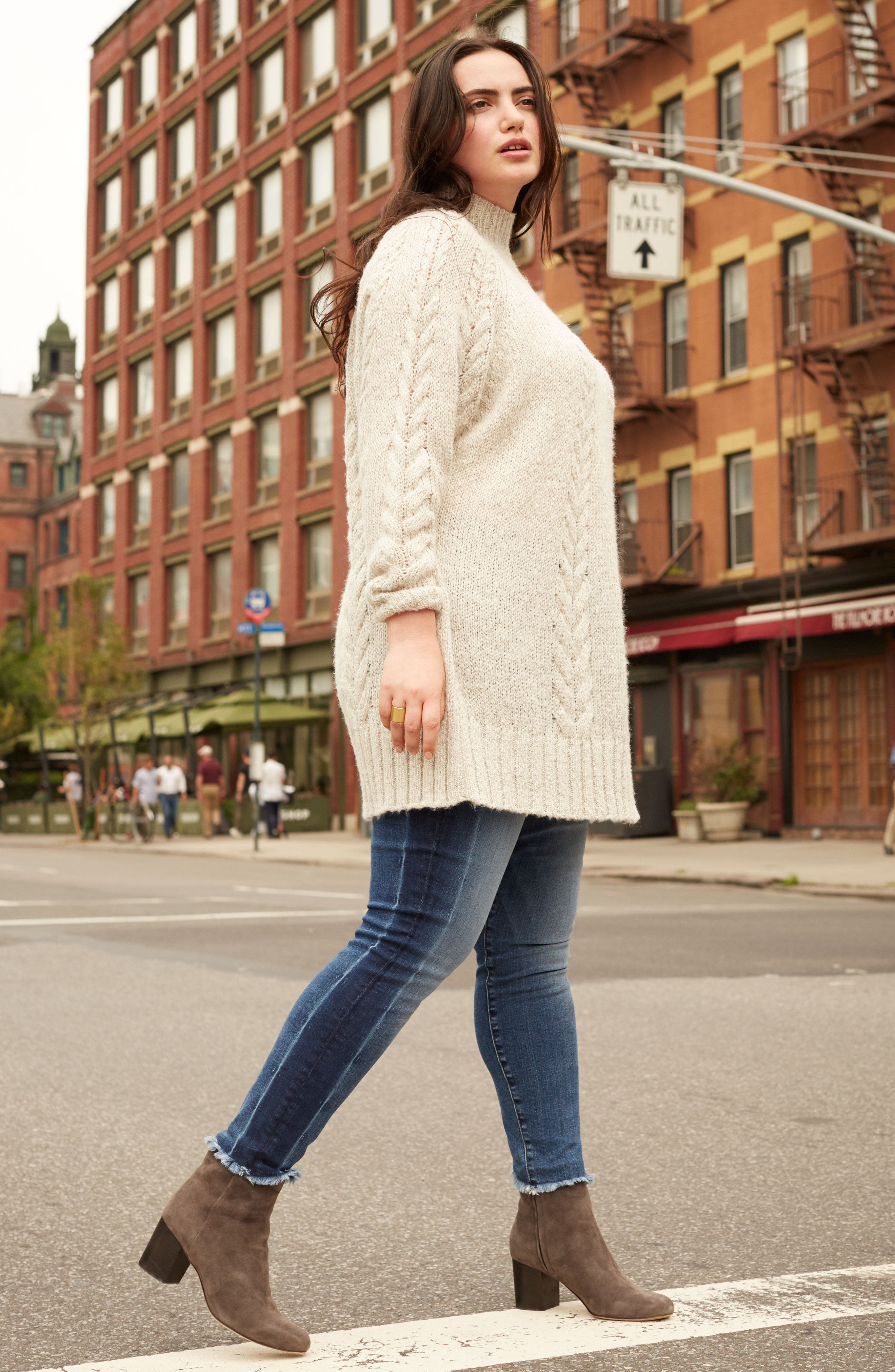 Cable Knit Tunic Sweater,                             Alternate thumbnail 8, color,                             BEIGE OATMEAL LIGHT HEATHER