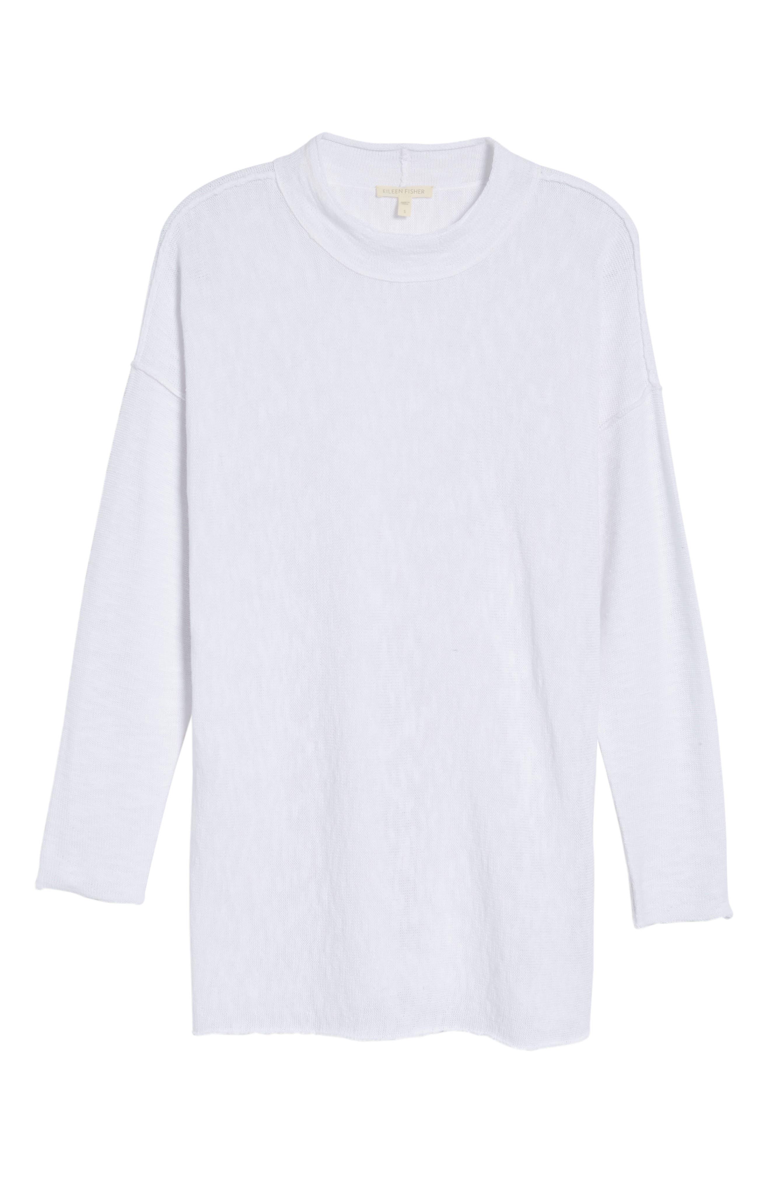 Organic Linen & Cotton Sweater,                             Alternate thumbnail 6, color,                             100
