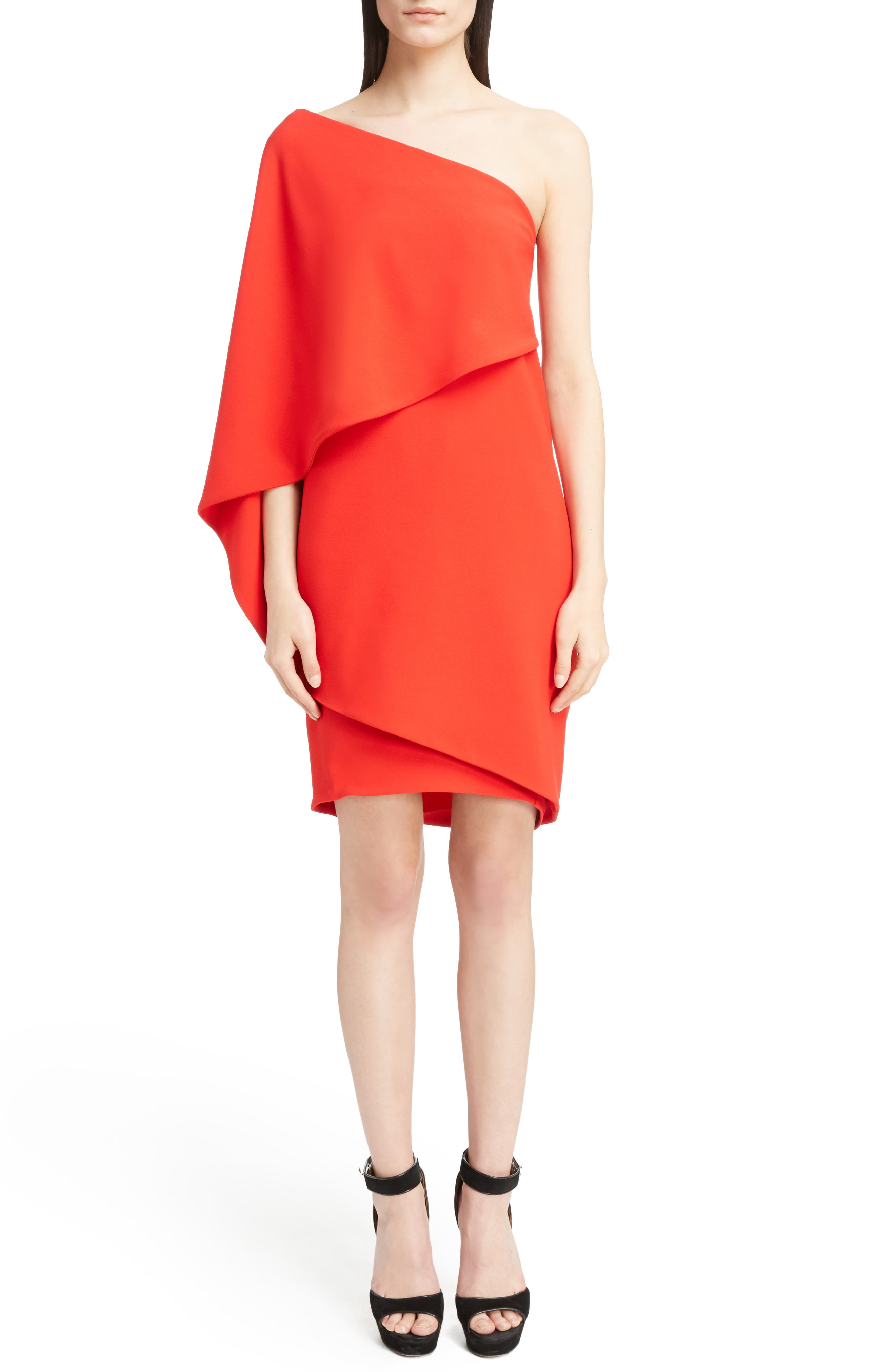Stretch Cady Cape Dress,                             Alternate thumbnail 5, color,