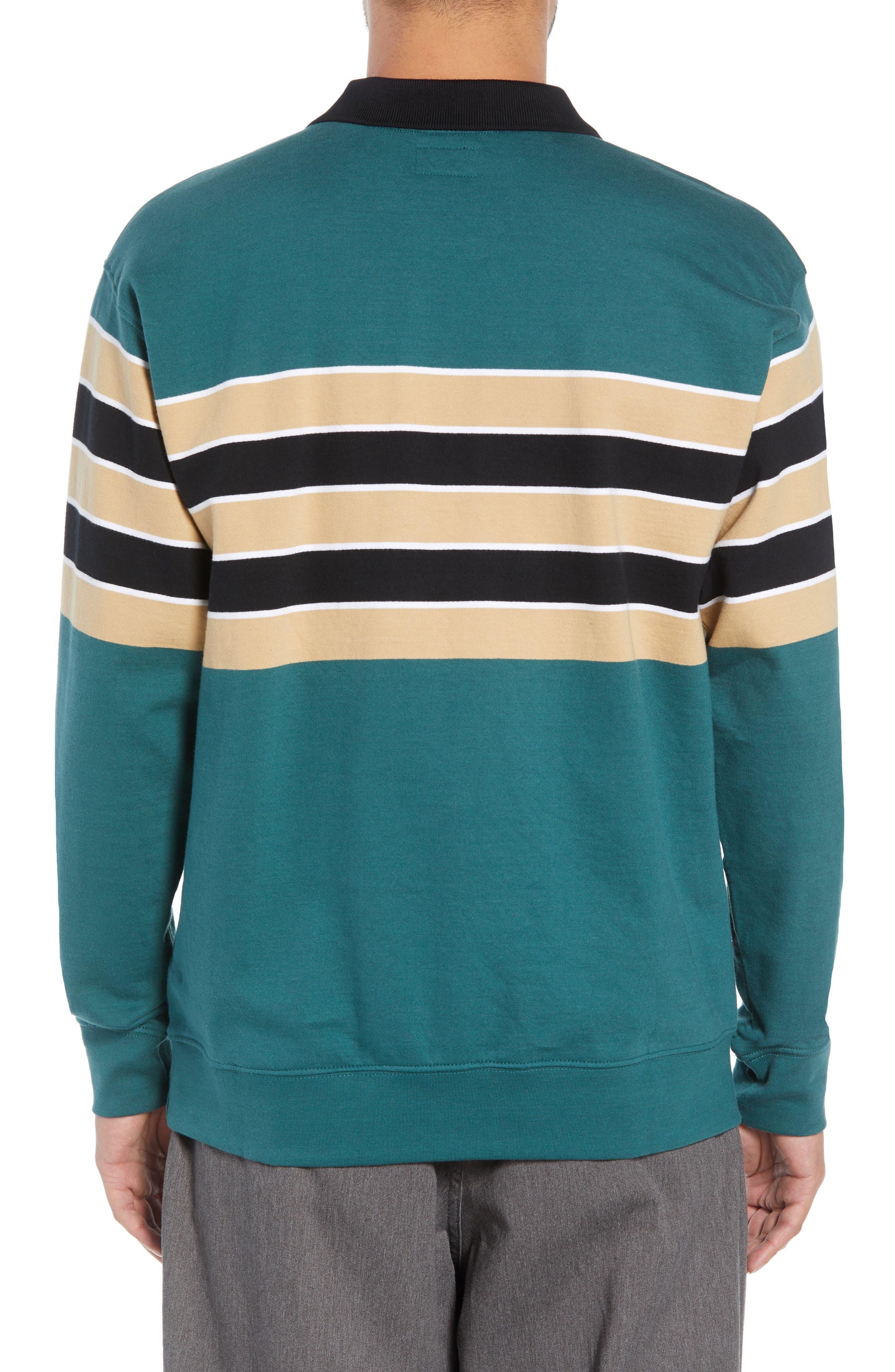 Cupid Striped Polo Collar Sweatshirt,                             Alternate thumbnail 2, color,                             DARK TEAL MULTI