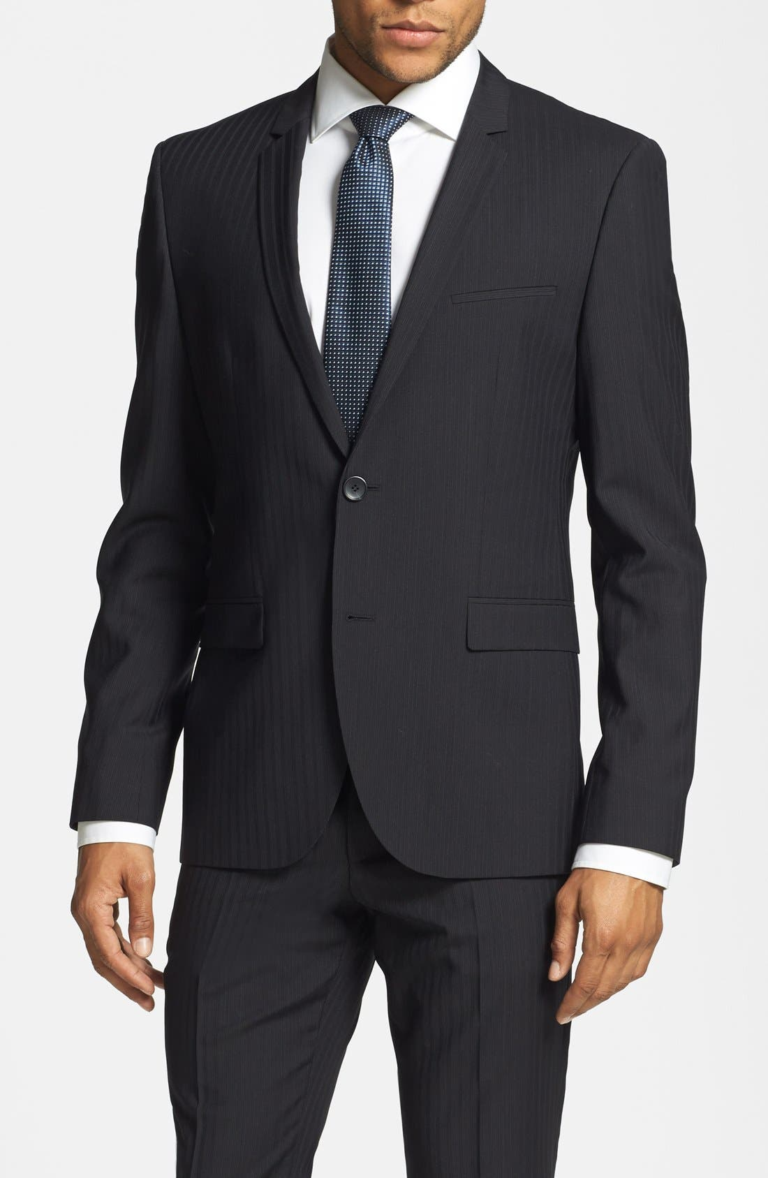 BOSS HUGO BOSS 'Adris/Heibo' Extra Trim Fit Stripe Suit,                             Alternate thumbnail 3, color,                             001