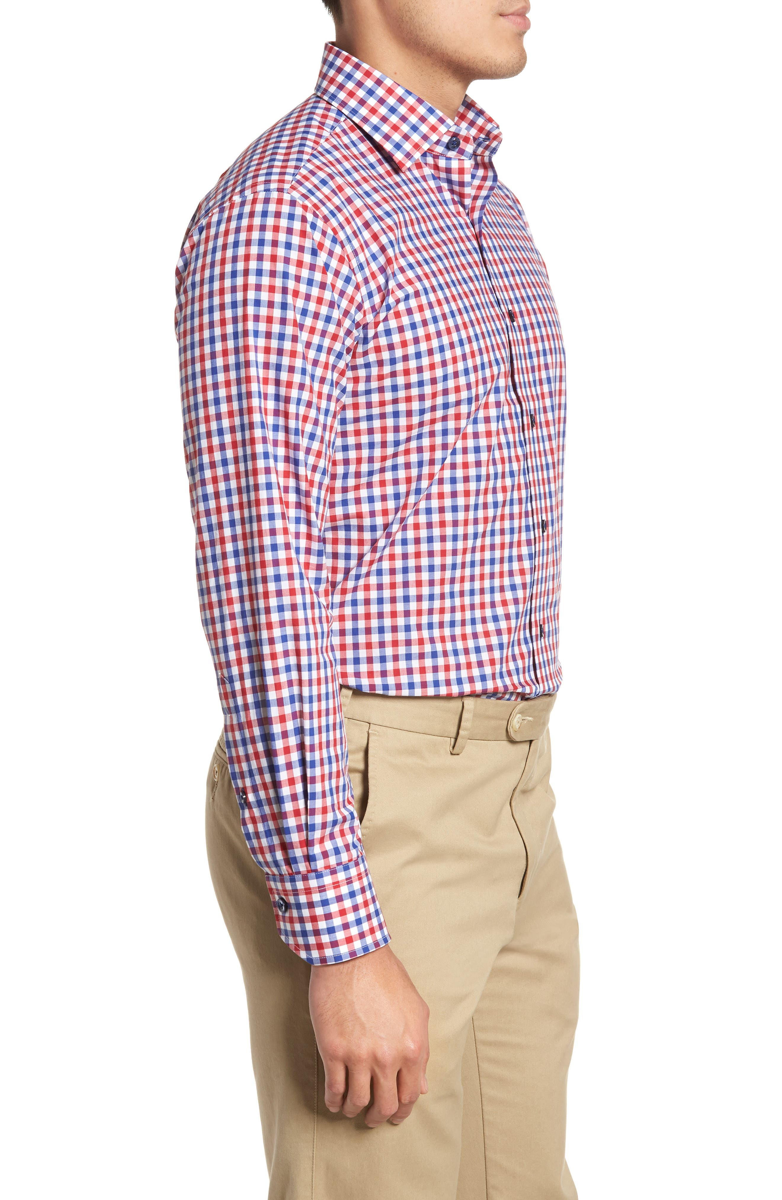 Trim Fit Check Dress Shirt,                             Alternate thumbnail 4, color,                             NAVY/ RED
