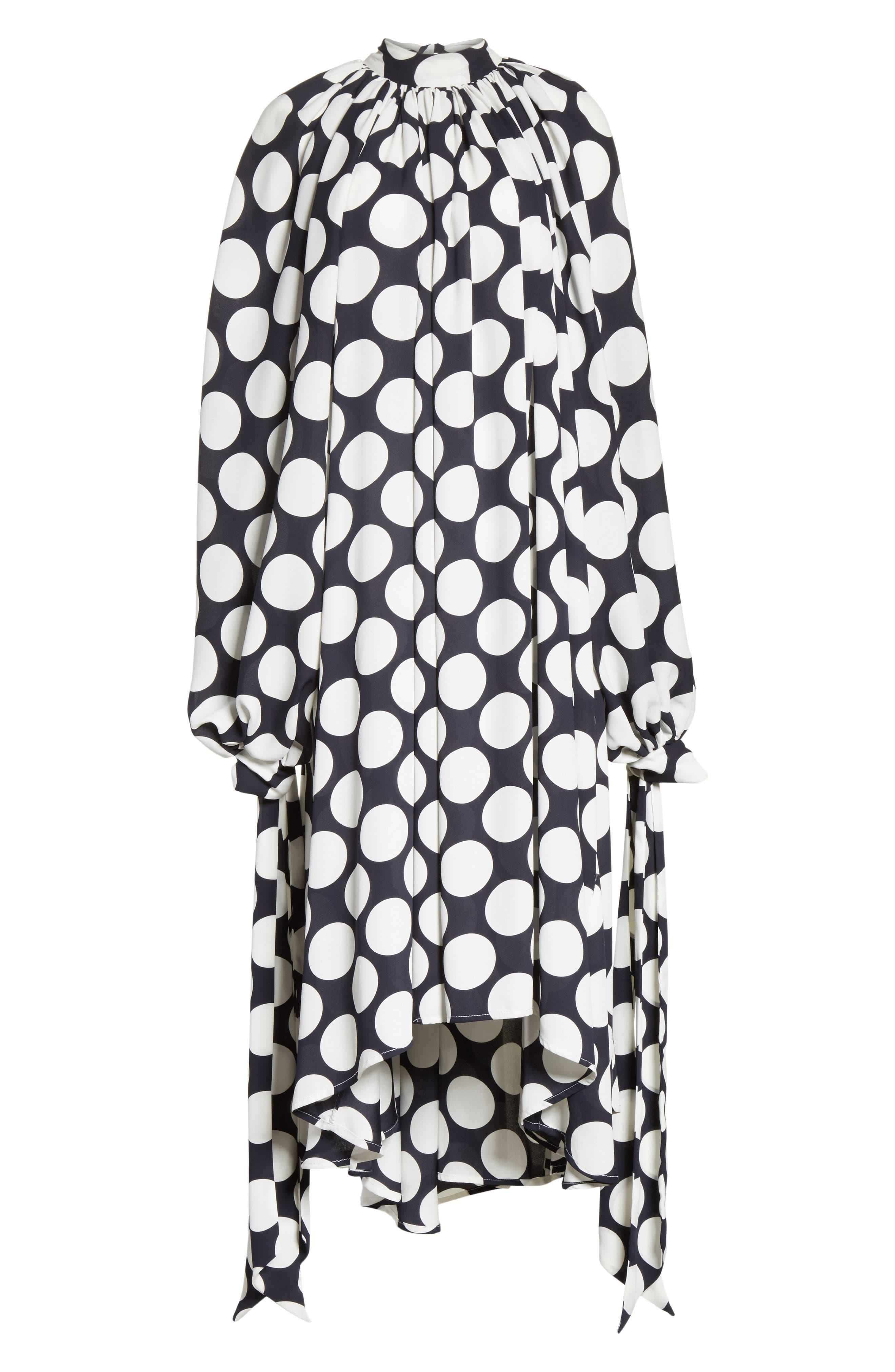 Giant Polka Dot Gathered Collar Dress,                             Alternate thumbnail 6, color,                             410