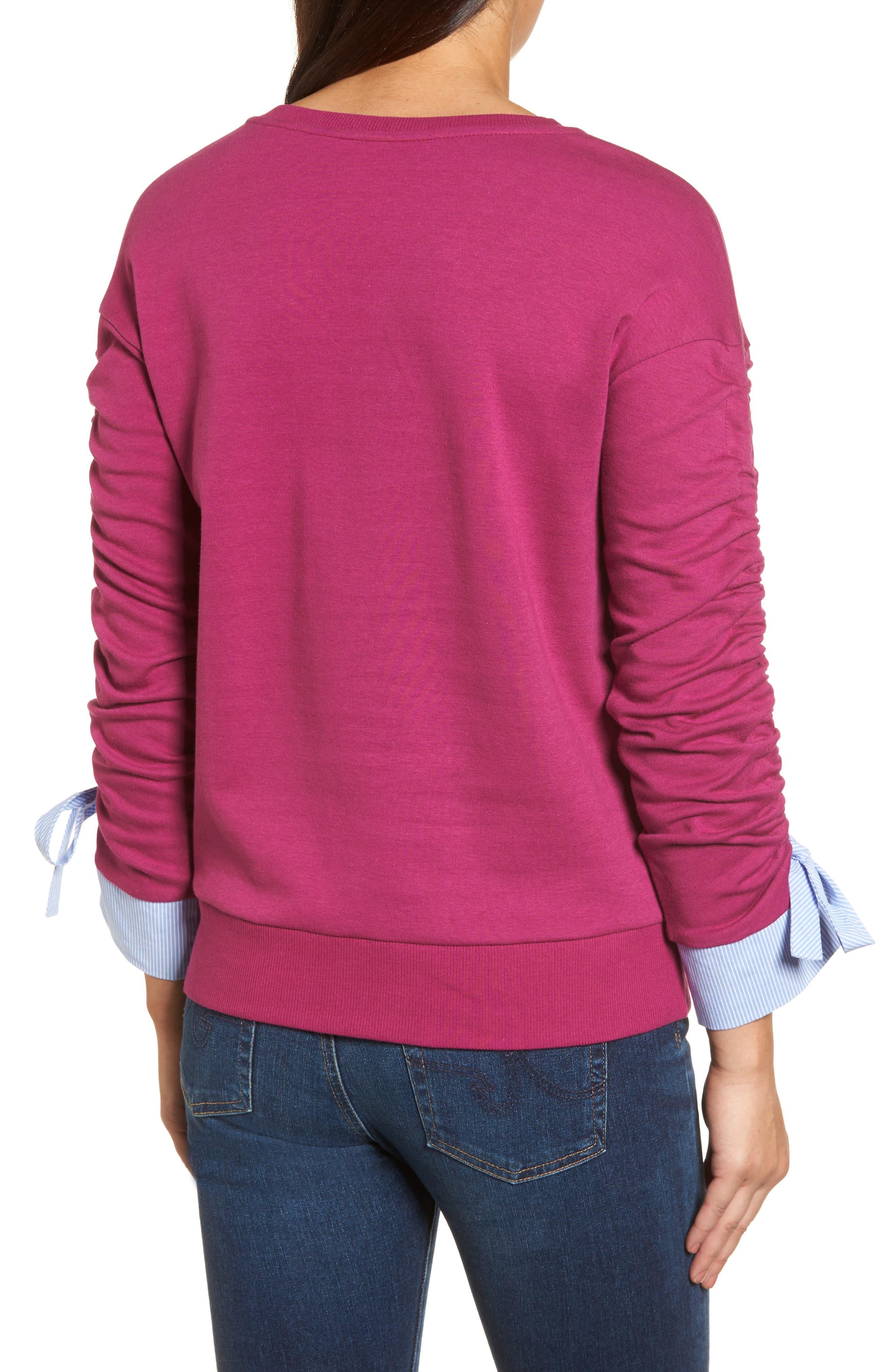 Ruched Sleeve Poplin Trim Sweatshirt,                             Alternate thumbnail 8, color,