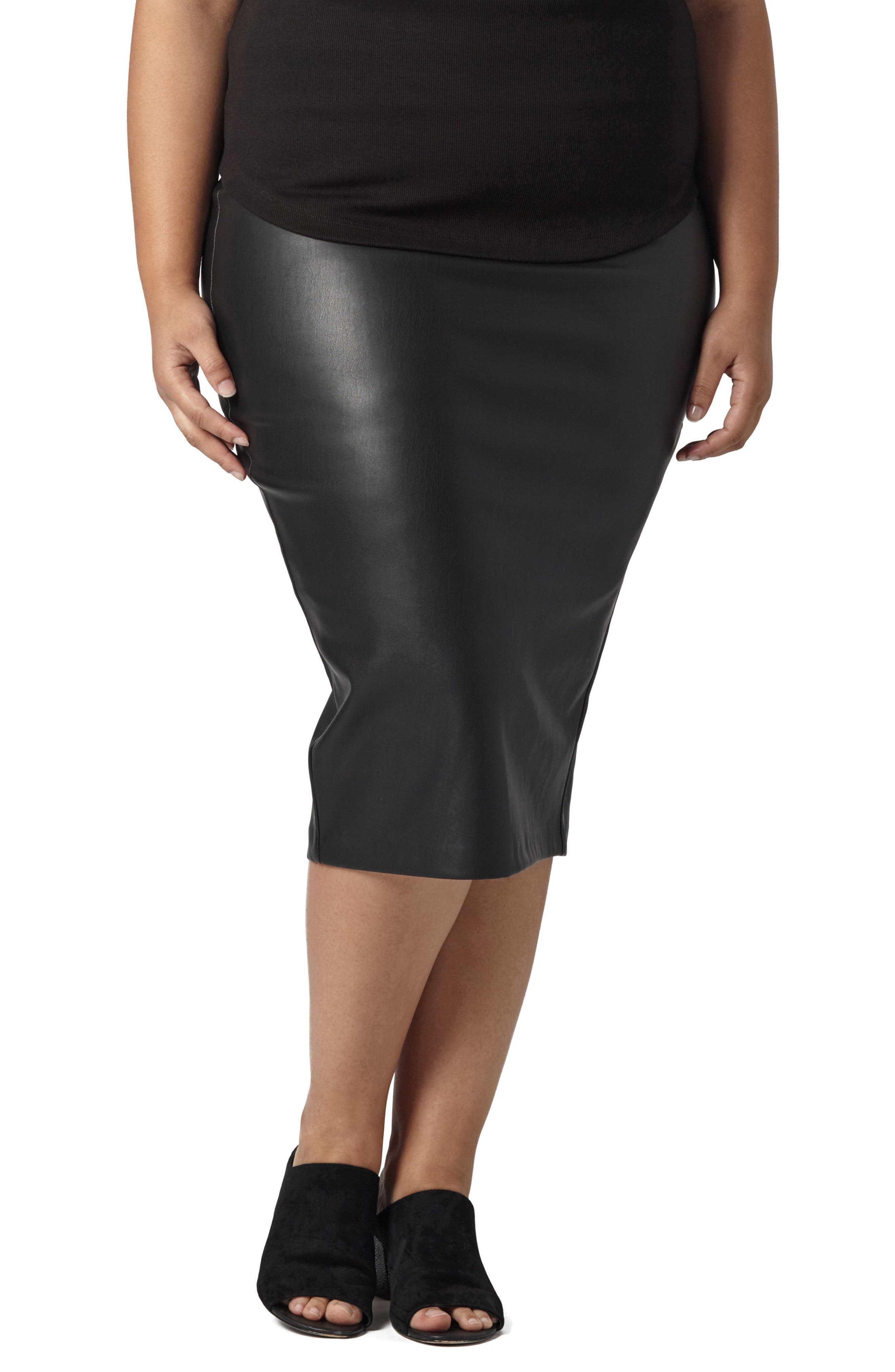 Sillaro Faux Leather Pencil Skirt,                             Main thumbnail 1, color,                             001