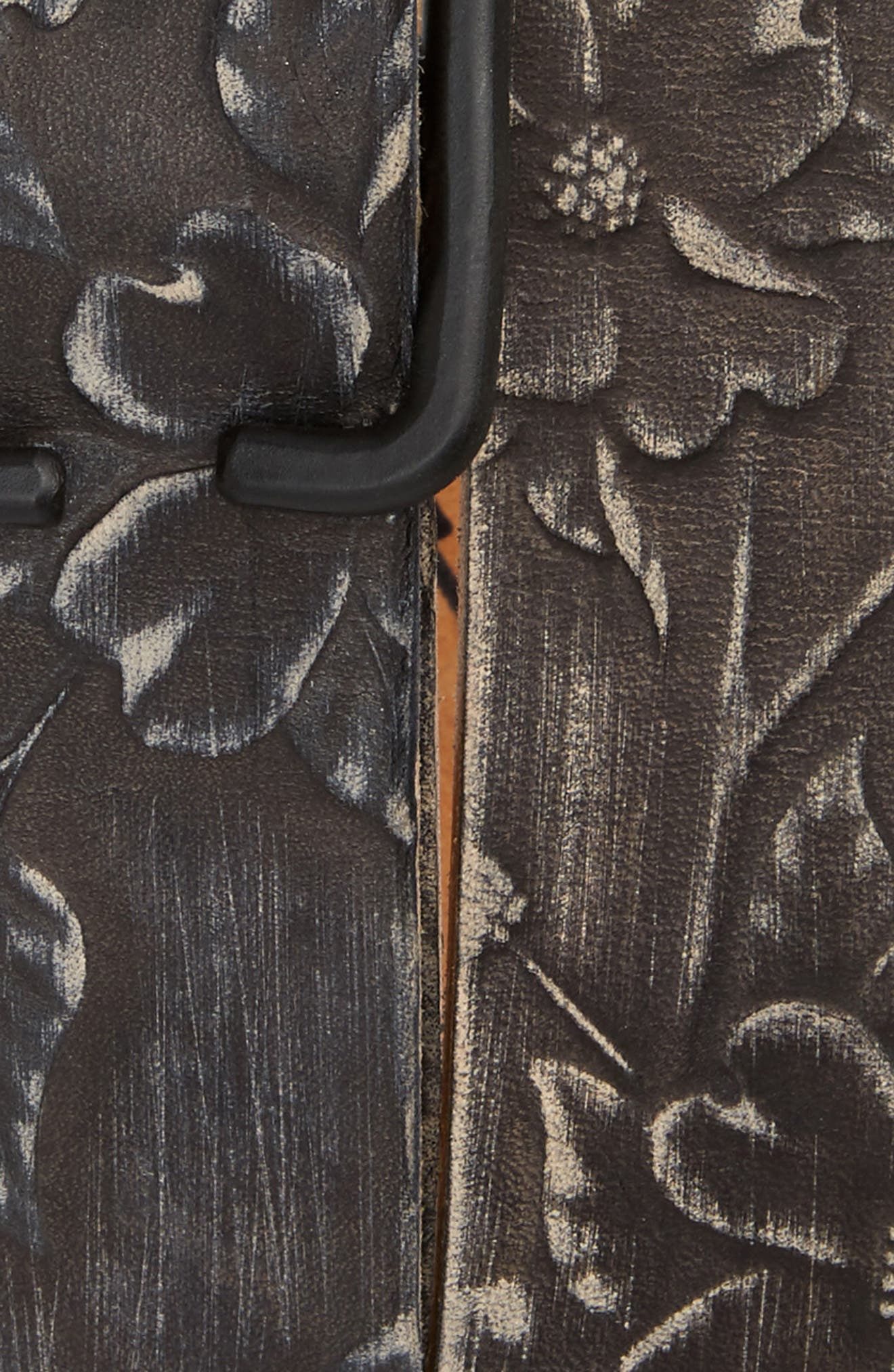 Cause & Effect Dogwood Tooled Leather Belt,                             Alternate thumbnail 2, color,                             BLACK