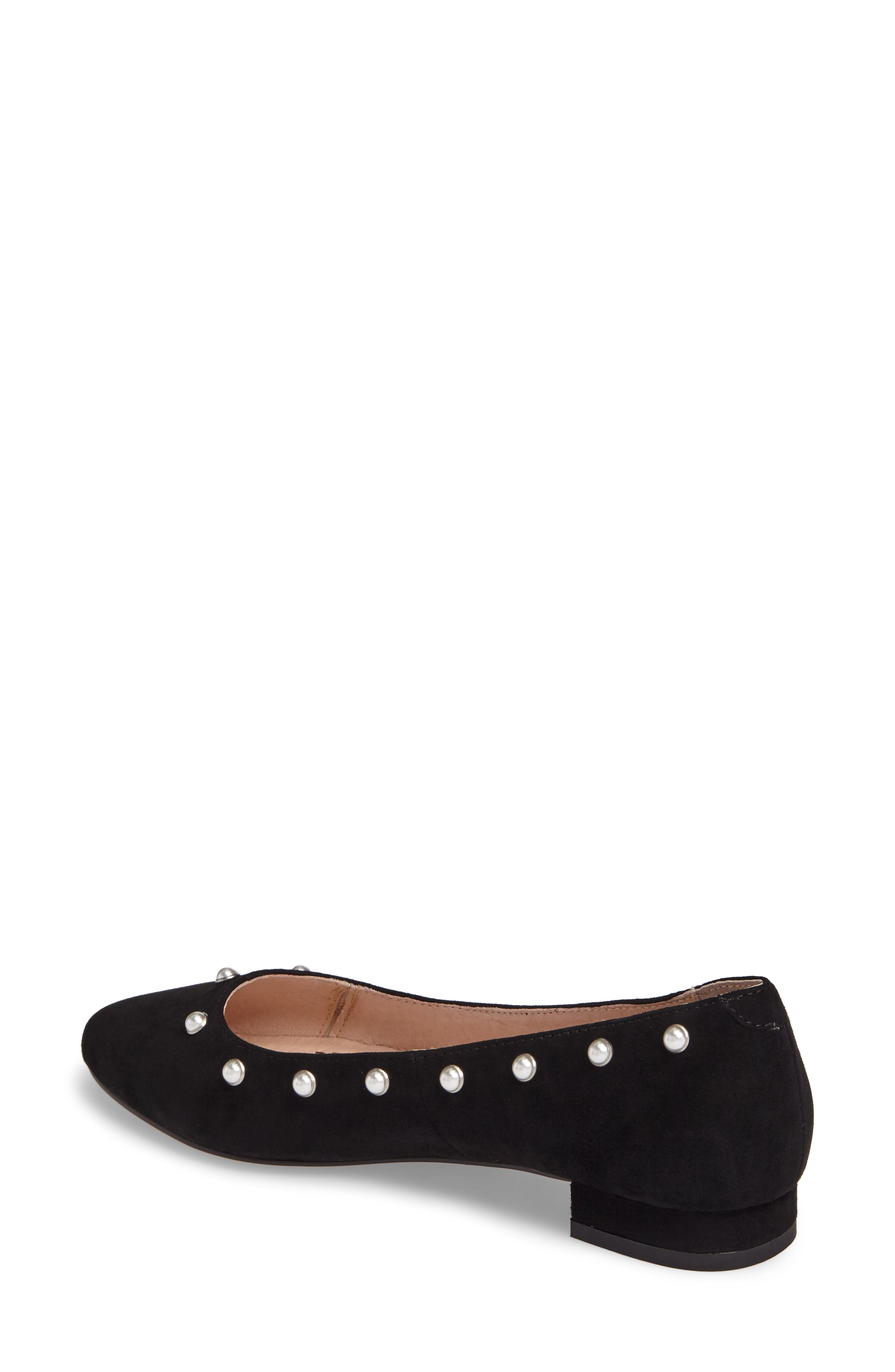 Amira Imitation Pearl Flat,                             Alternate thumbnail 2, color,                             BLACK SUEDE