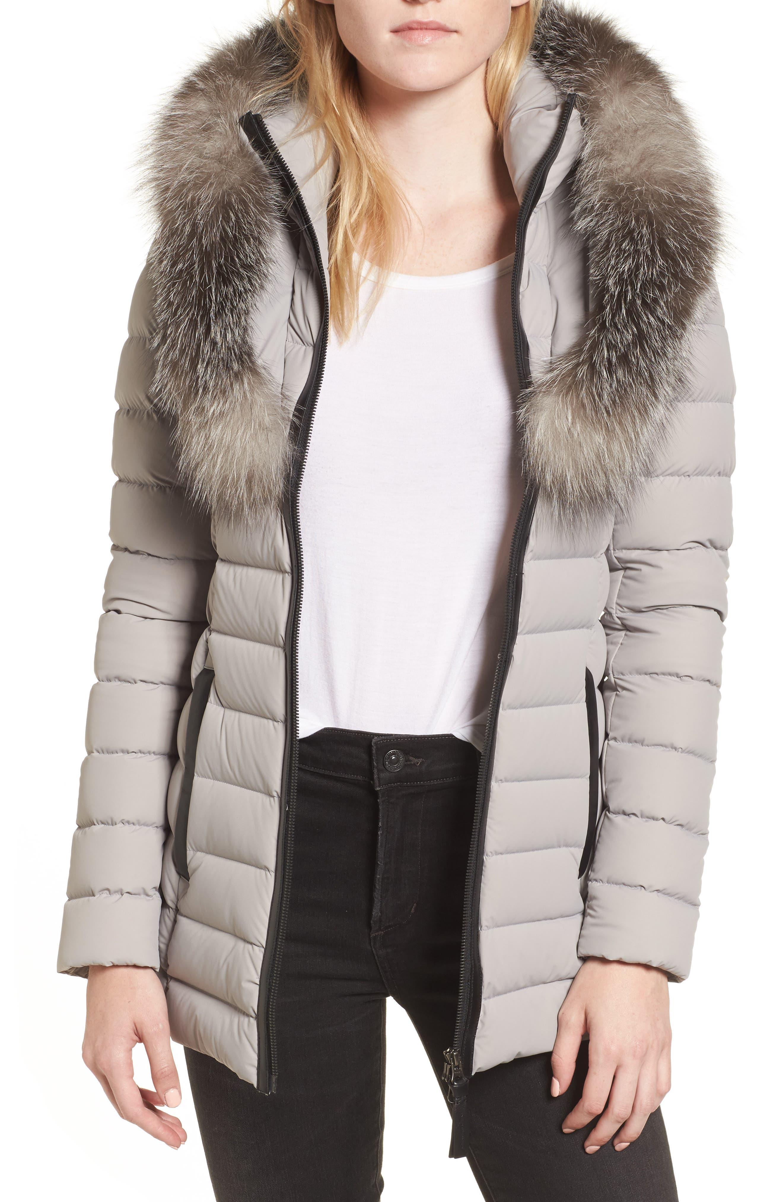 Kadalina Down Jacket with Genuine Fox Fur Trim,                         Main,                         color, 082