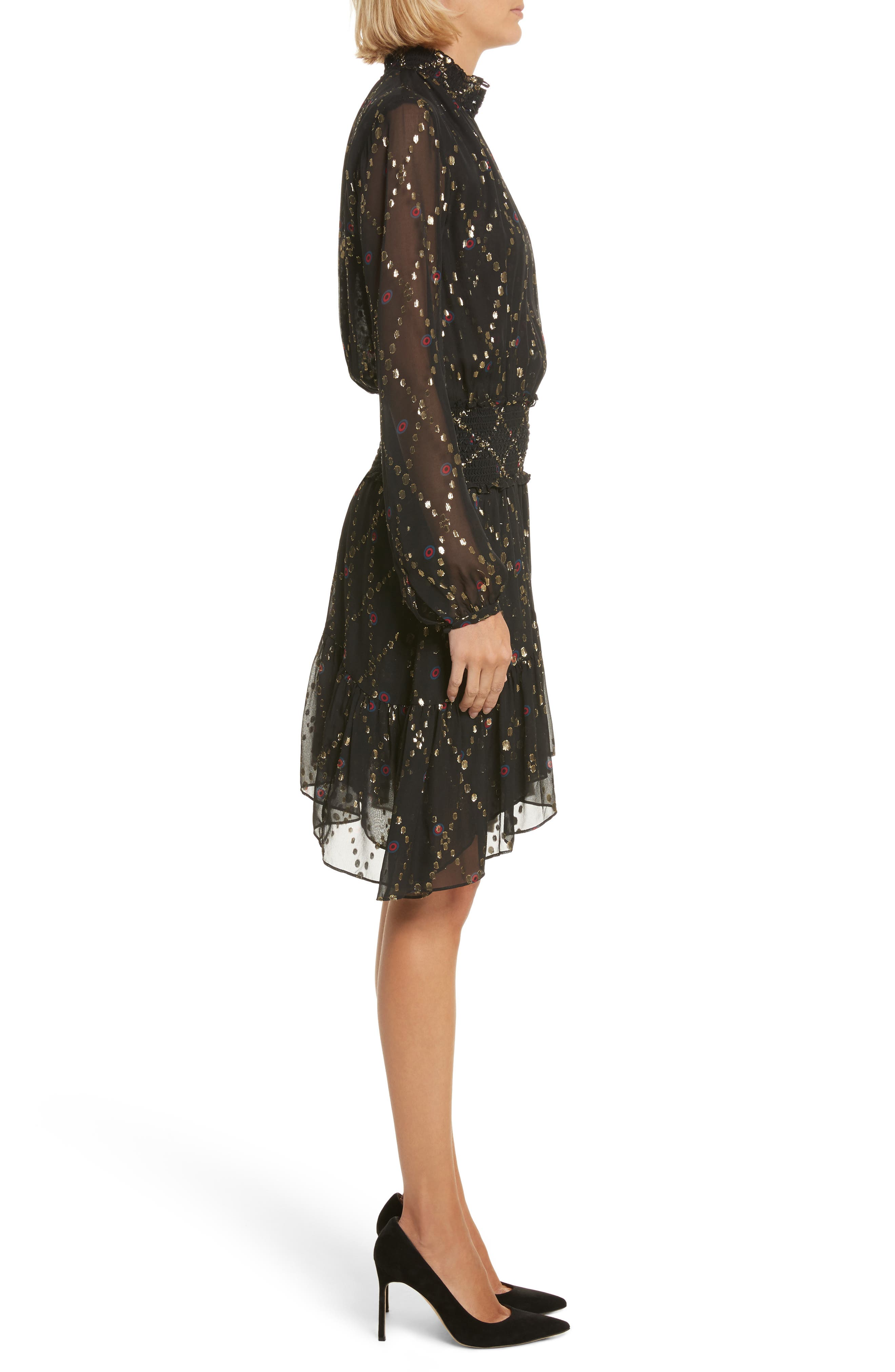 Tula Silk Dress,                             Alternate thumbnail 3, color,                             002