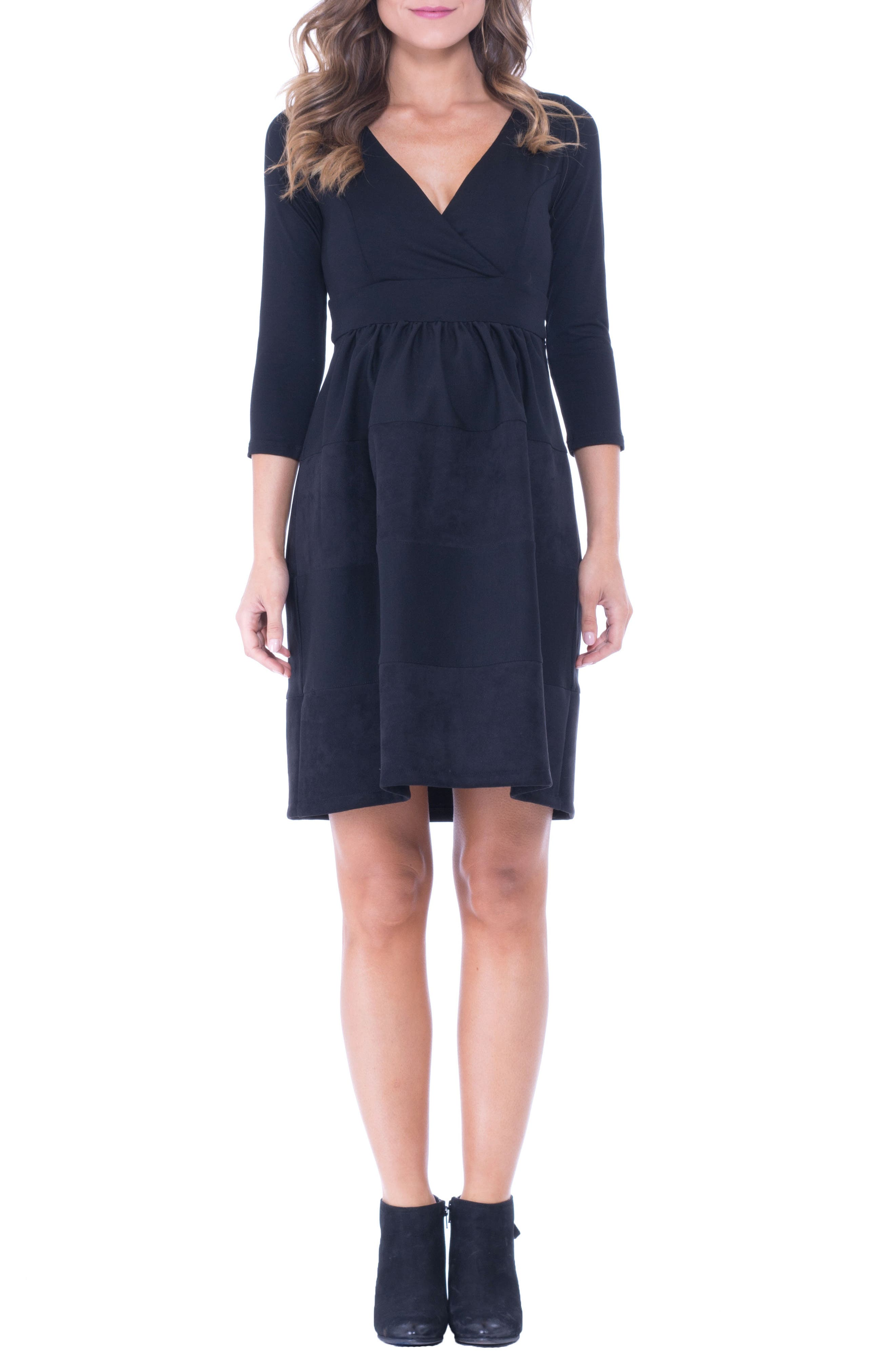 Faux Suede & Ponte Surplice Maternity Dress,                         Main,                         color, BLACK