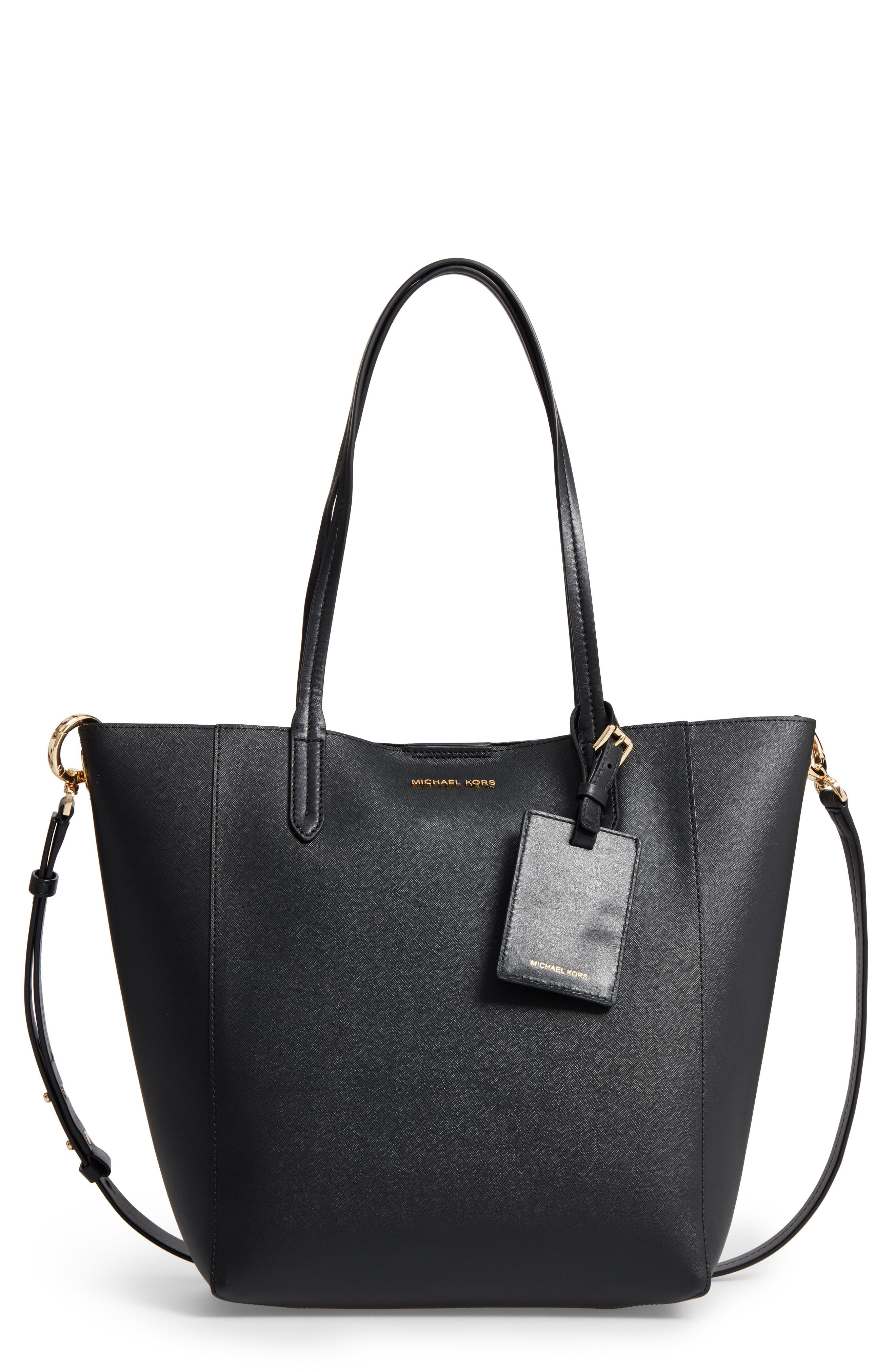Penny Large Saffiano Convertible Leather Tote,                         Main,                         color, 001