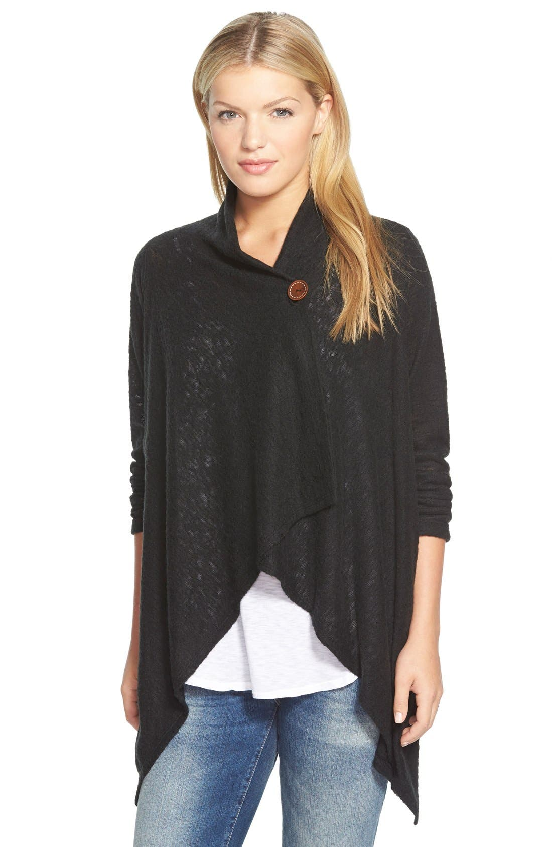 One-Button Fuzzy Fleece Wrap Cardigan,                         Main,                         color, 008