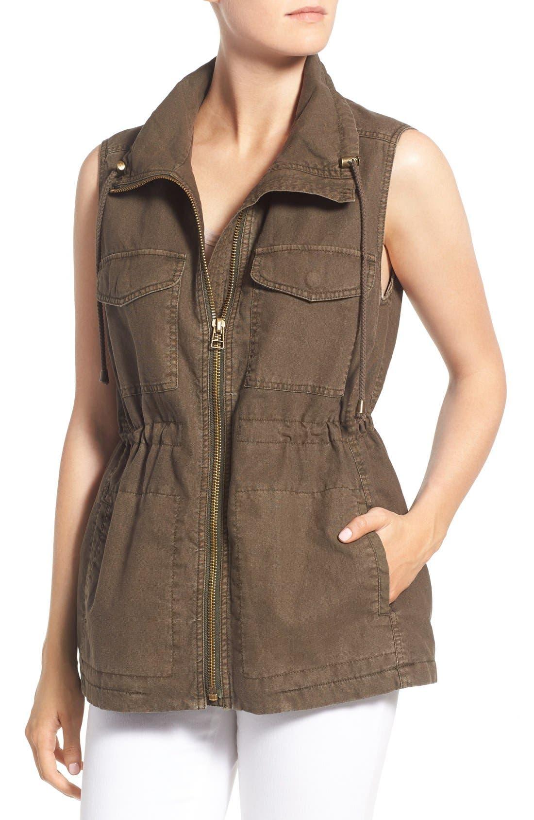 Cotton & Linen Military Vest,                             Alternate thumbnail 4, color,                             308