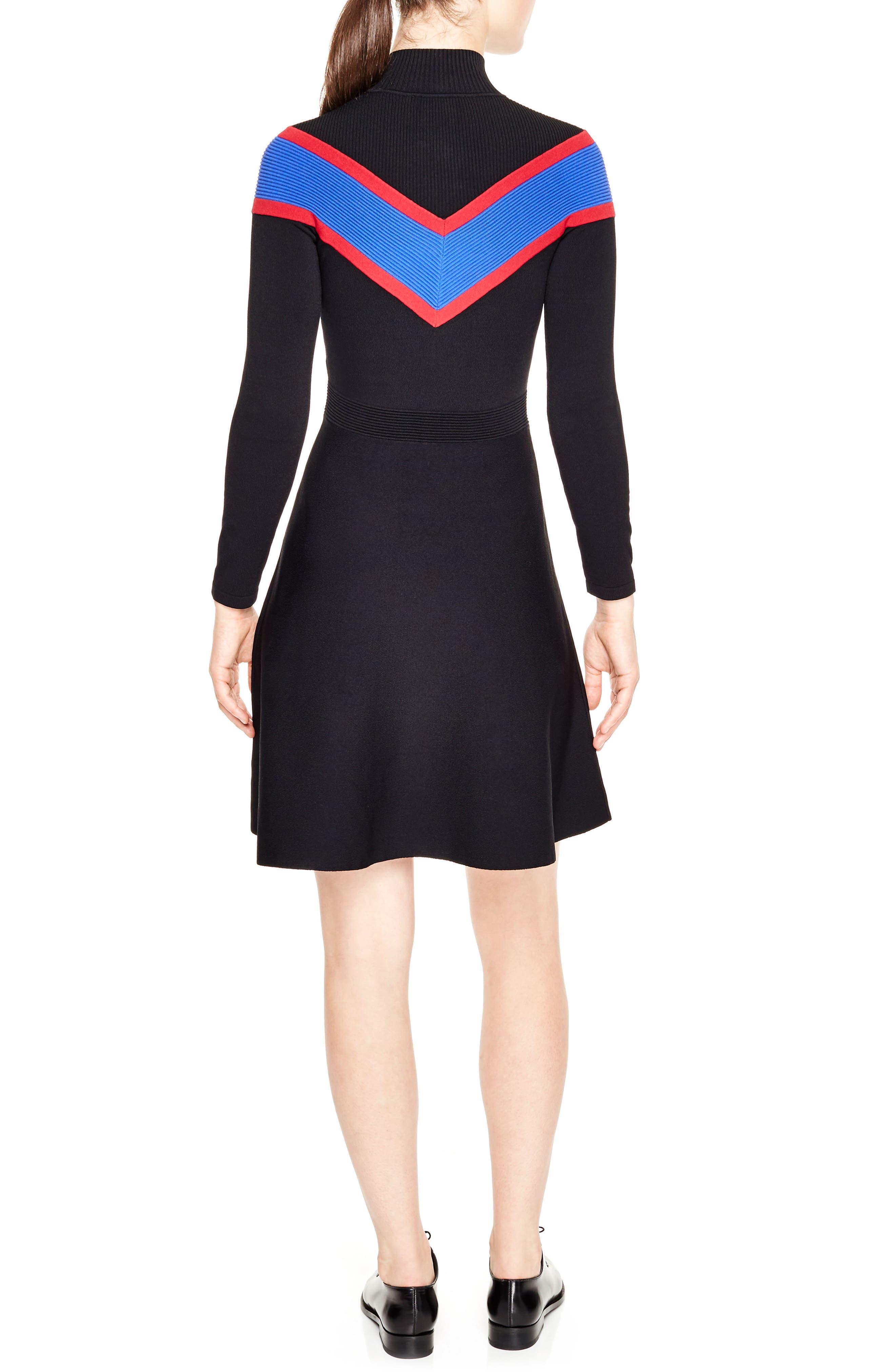 Chevron Inset Knit Dress,                             Alternate thumbnail 2, color,                             001
