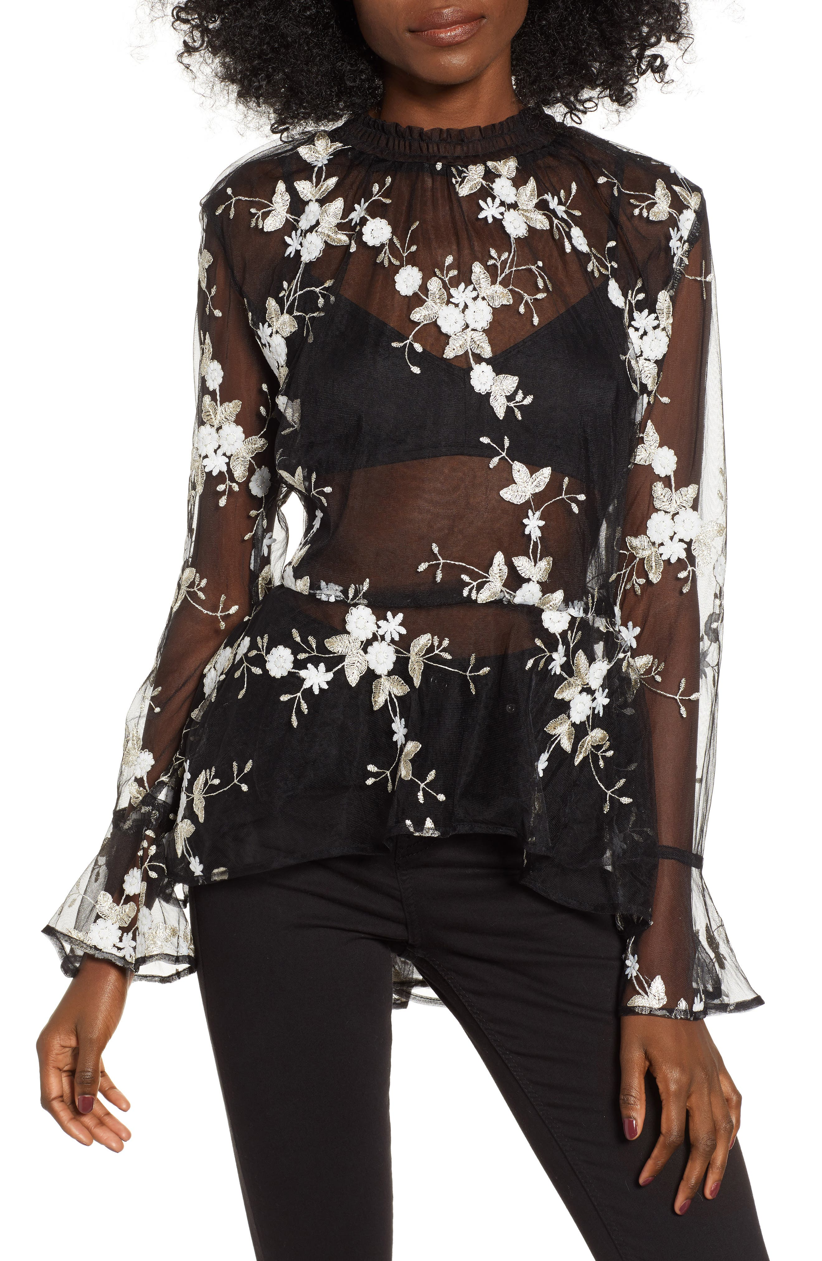 Embroidered Mesh Top,                             Main thumbnail 1, color,                             001