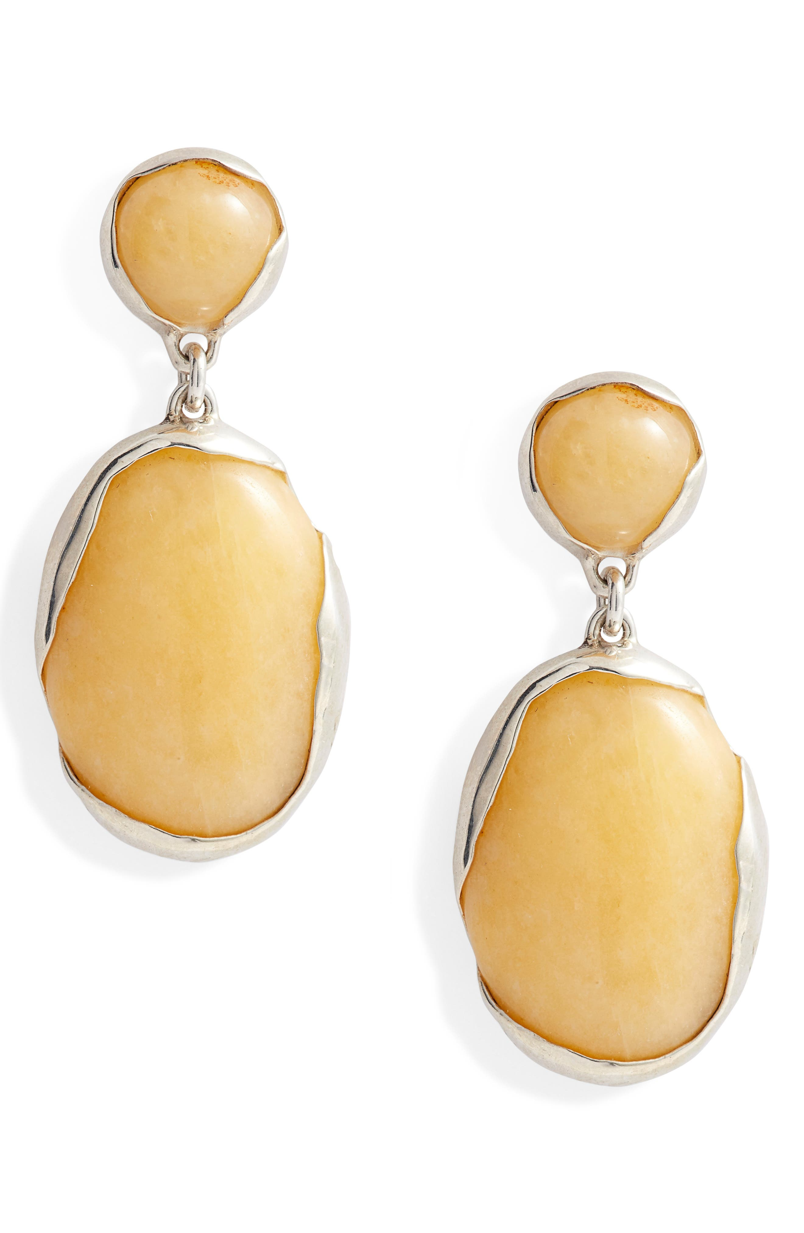 Ovo Stone Drop Earrings,                             Main thumbnail 1, color,                             SILVER/ PINEAPPLE JASPER
