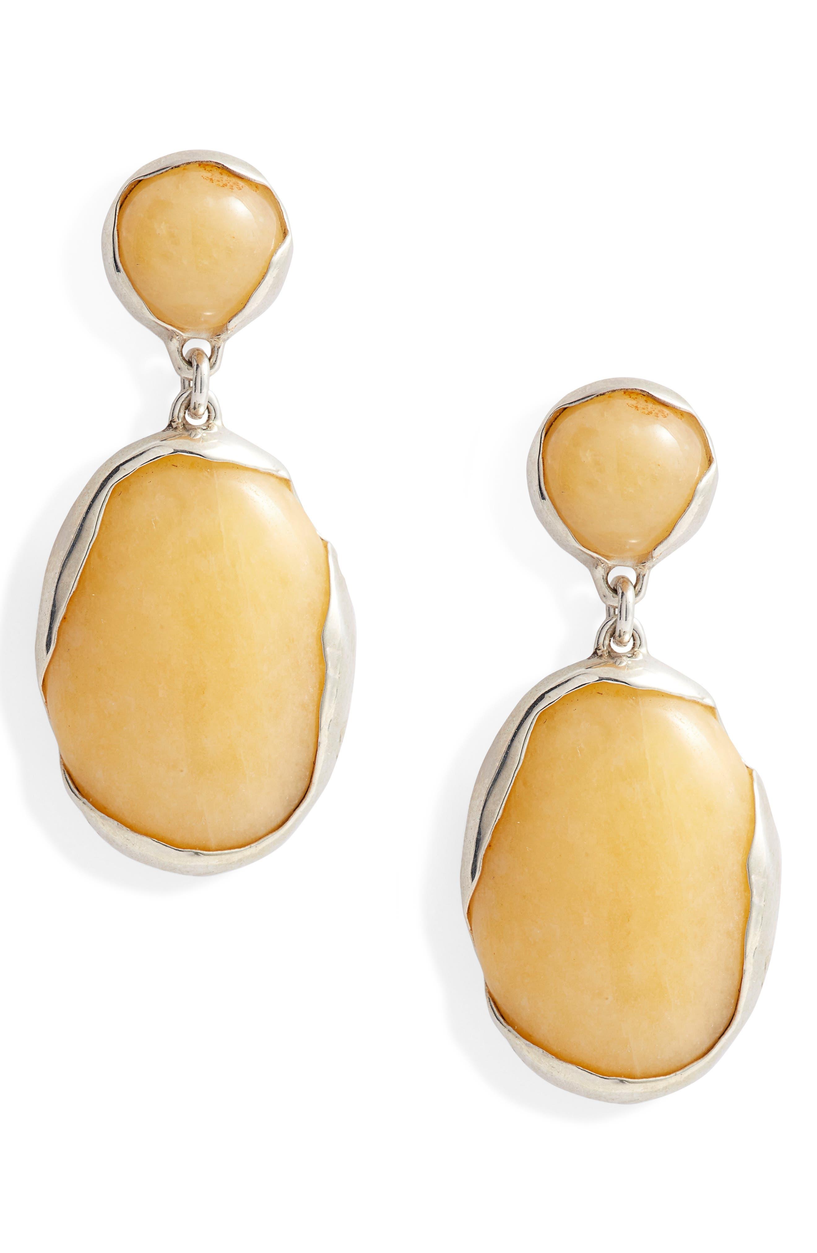 Ovo Stone Drop Earrings,                         Main,                         color, SILVER/ PINEAPPLE JASPER