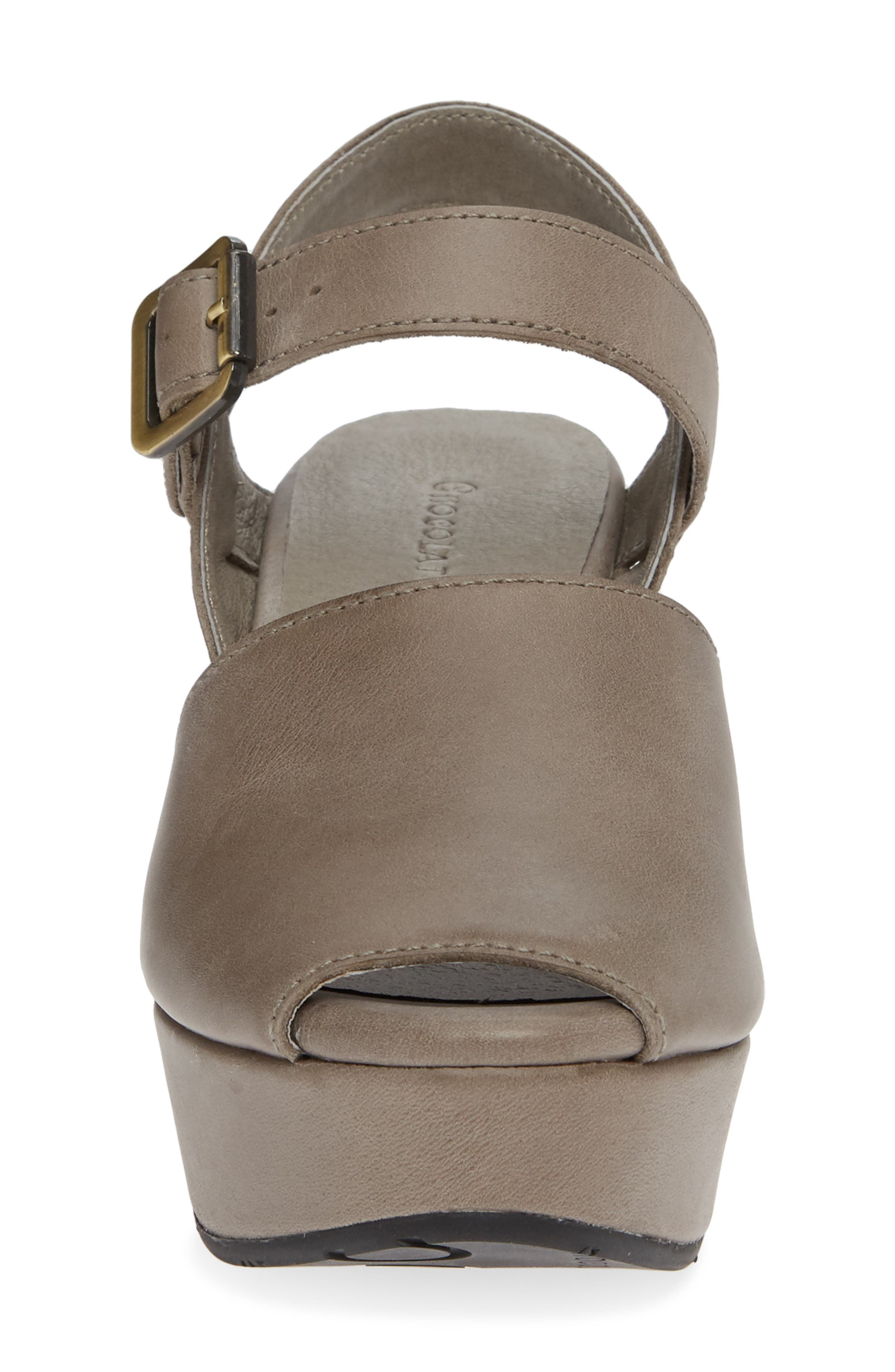 Wagga Platform Wedge Sandal,                             Alternate thumbnail 4, color,                             GREY LEATHER