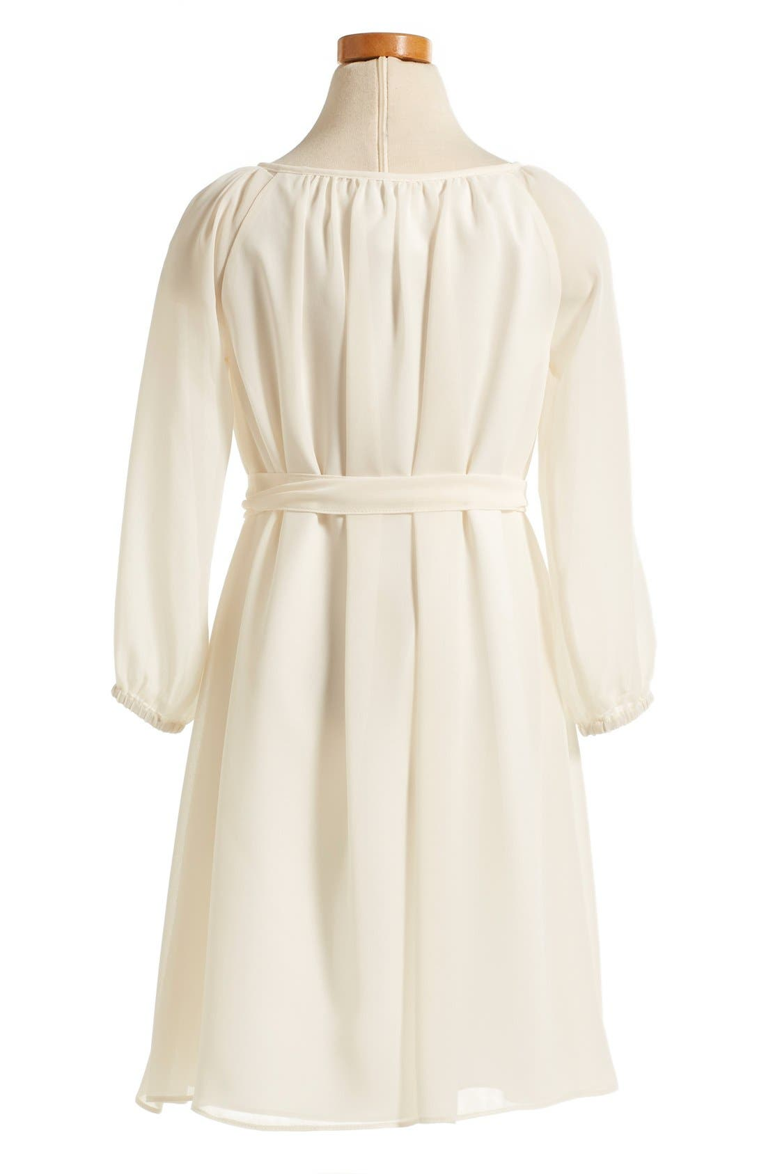 Long Sleeve Chiffon Midi Dress,                             Alternate thumbnail 3, color,                             902