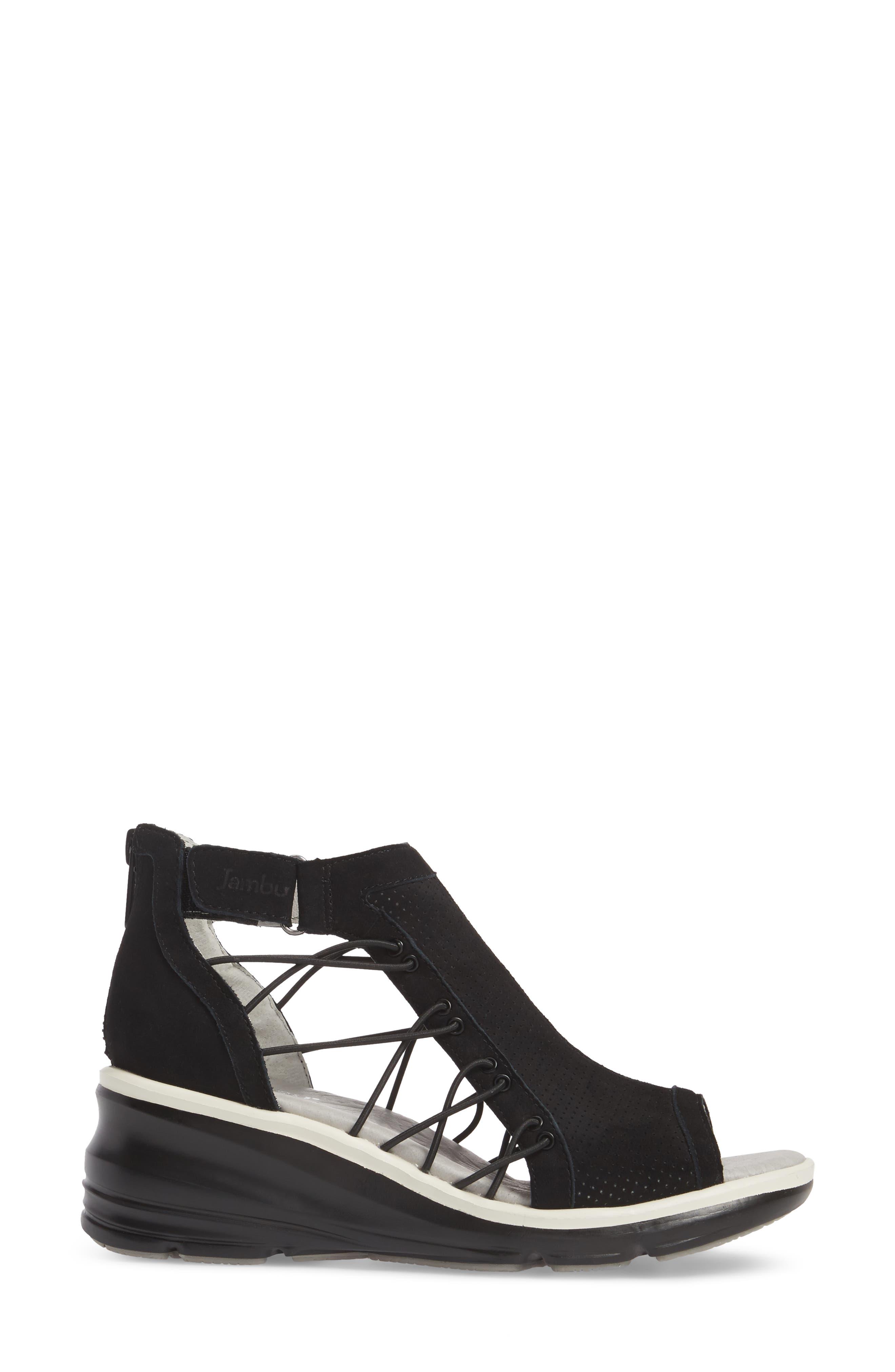 Naomi Perforated Wedge Sandal,                             Alternate thumbnail 3, color,                             BLACK SUEDE