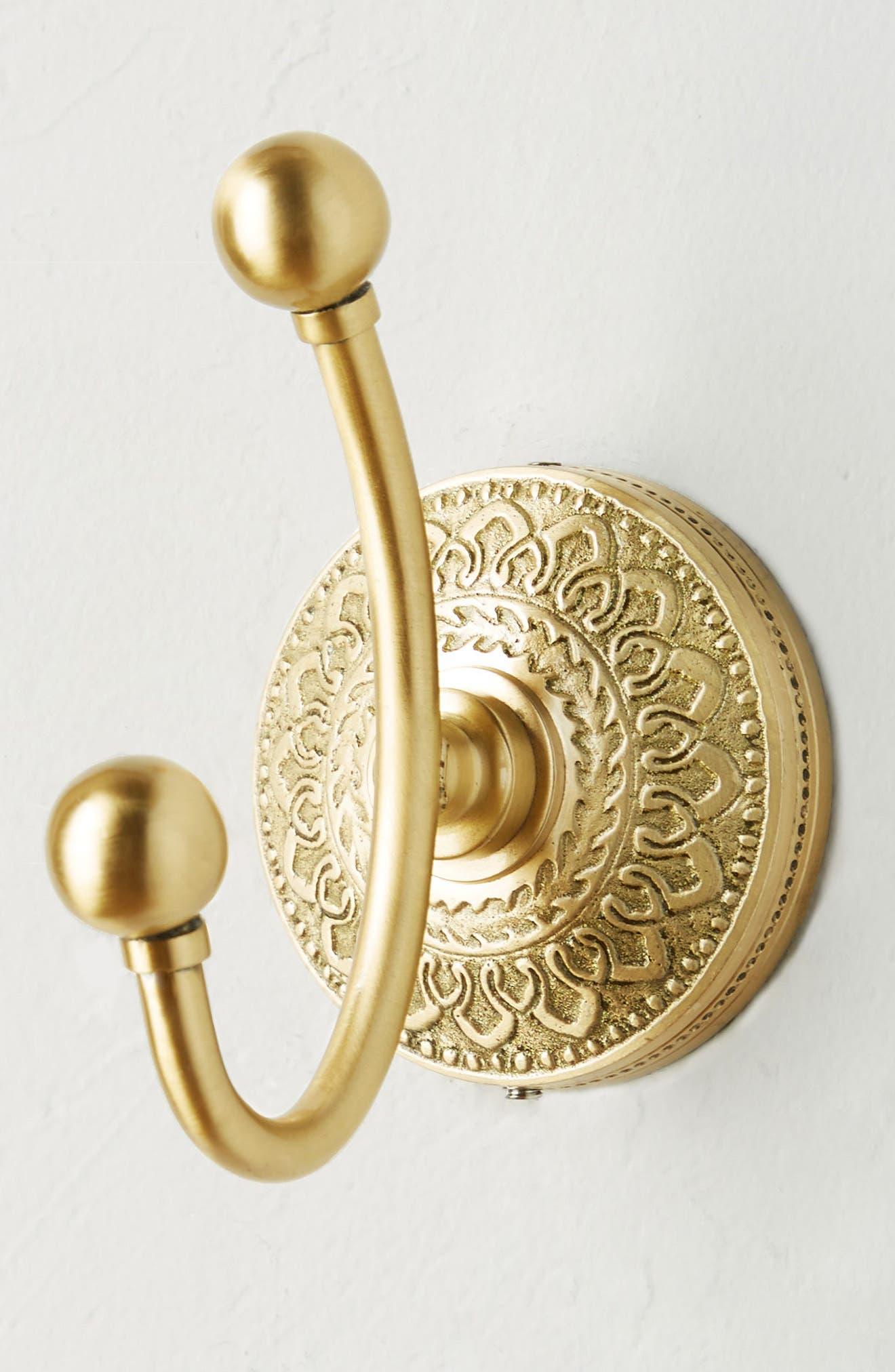 Brass Medallion Hook,                             Alternate thumbnail 2, color,                             HONEY