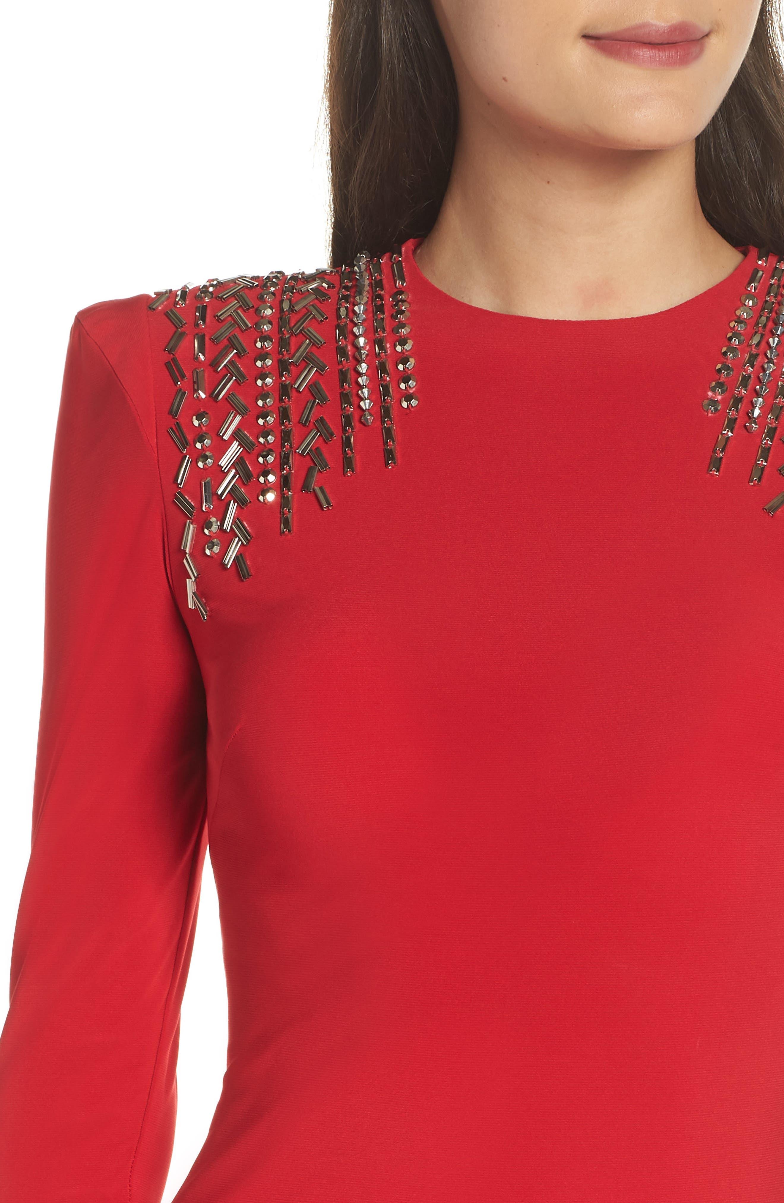 Mac Duggal Embellished Shoulder Jersey Gown,                             Alternate thumbnail 4, color,                             600