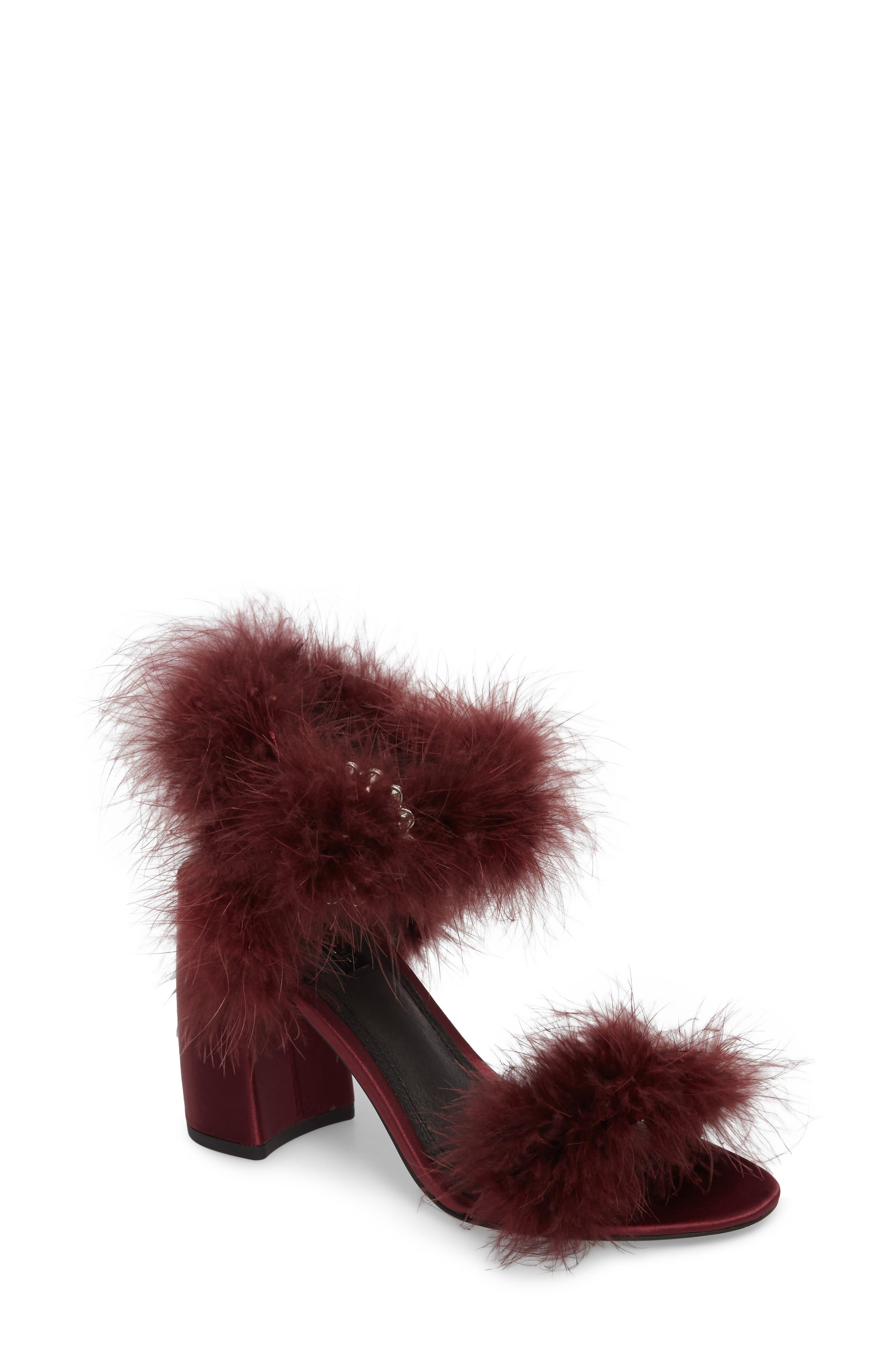 Maribou Feather Sandal,                         Main,                         color, 930