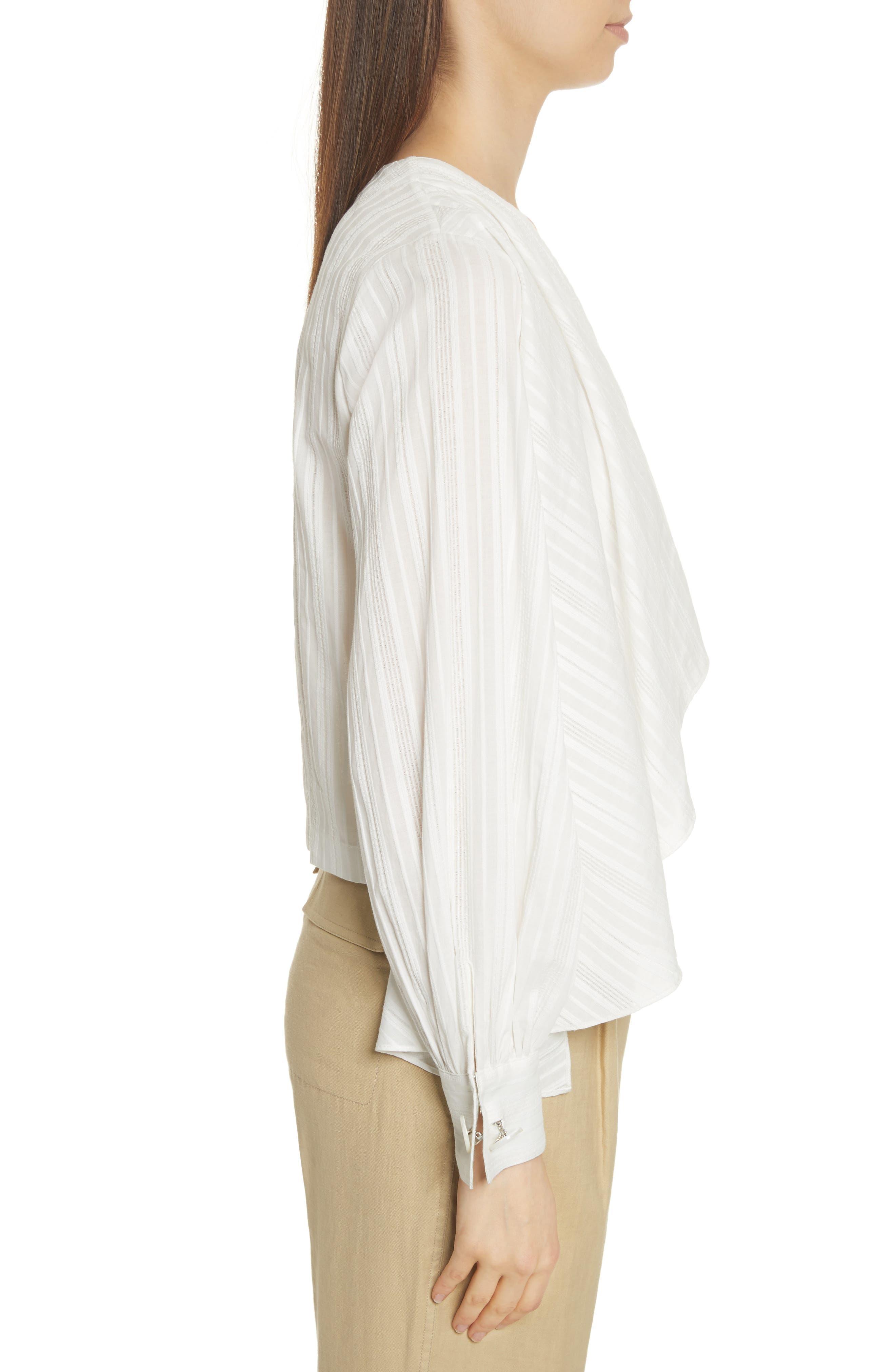 Stripe Drape Front Blouse,                             Alternate thumbnail 3, color,                             900