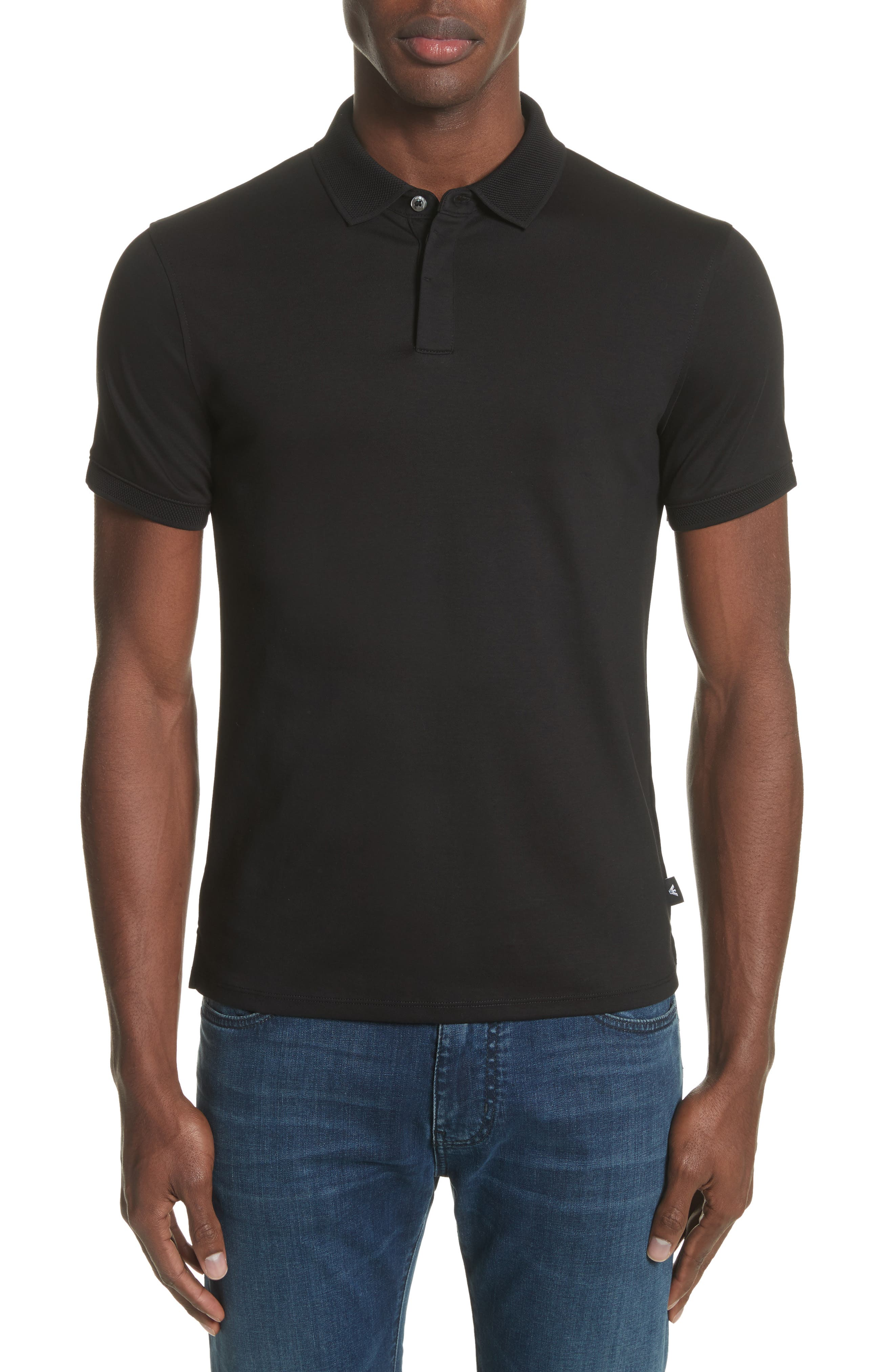 Slim Fit Polo,                         Main,                         color, SOLID BLACK