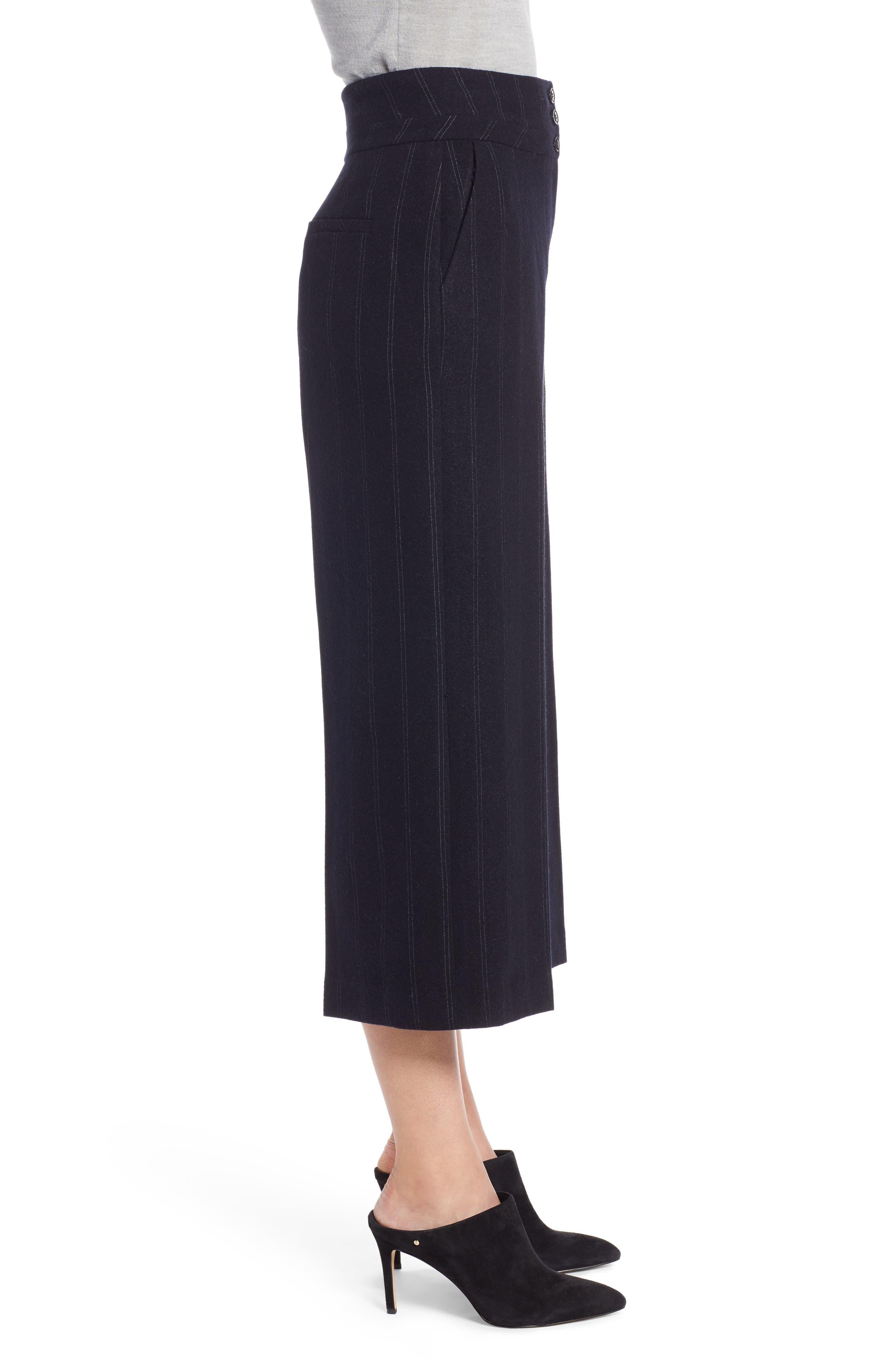Stripe Wide Leg Crop Suit Pants,                             Alternate thumbnail 3, color,                             410