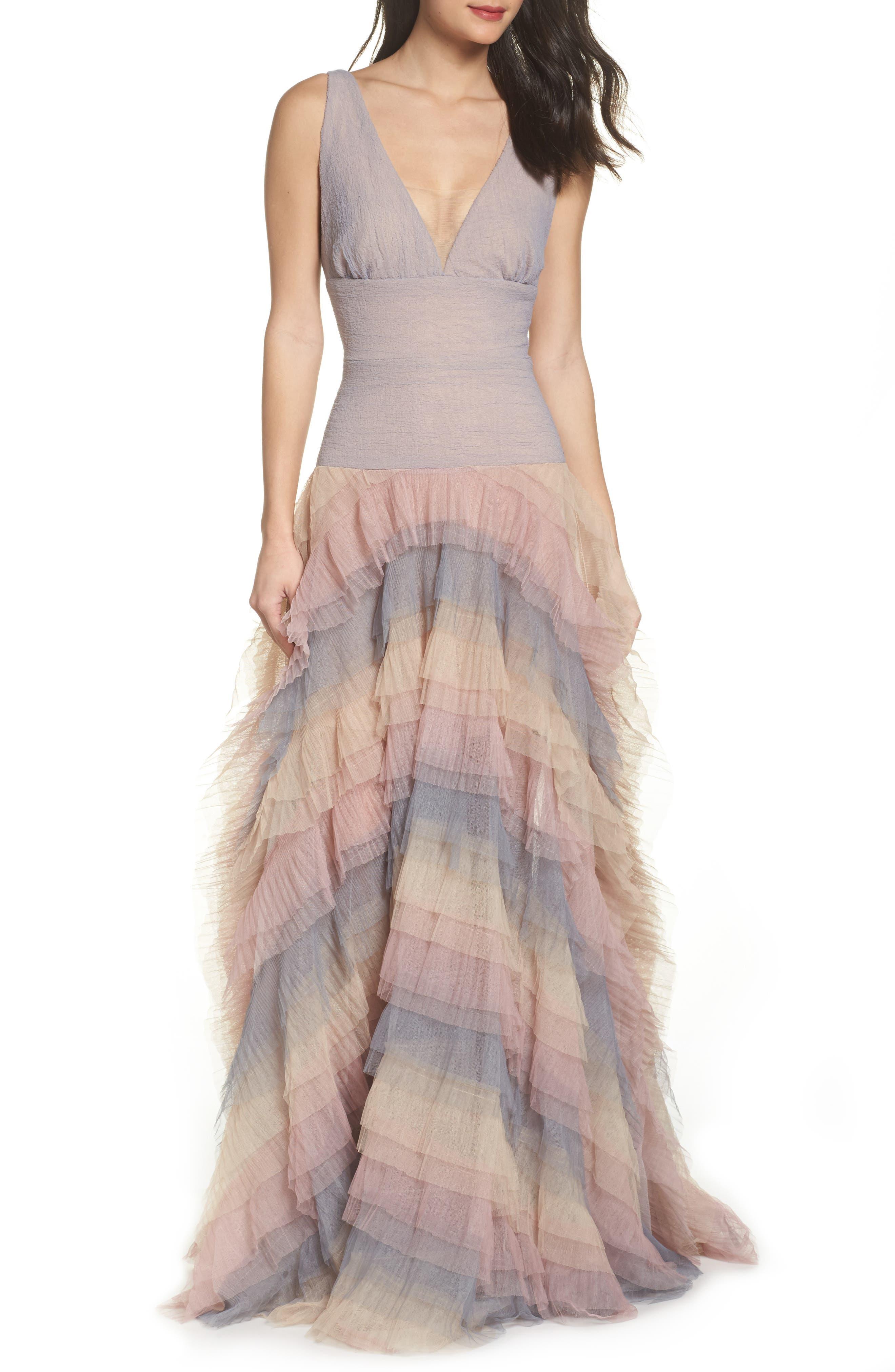 Amelia Tier Ruffle Gown,                         Main,                         color, MULTICOLOR