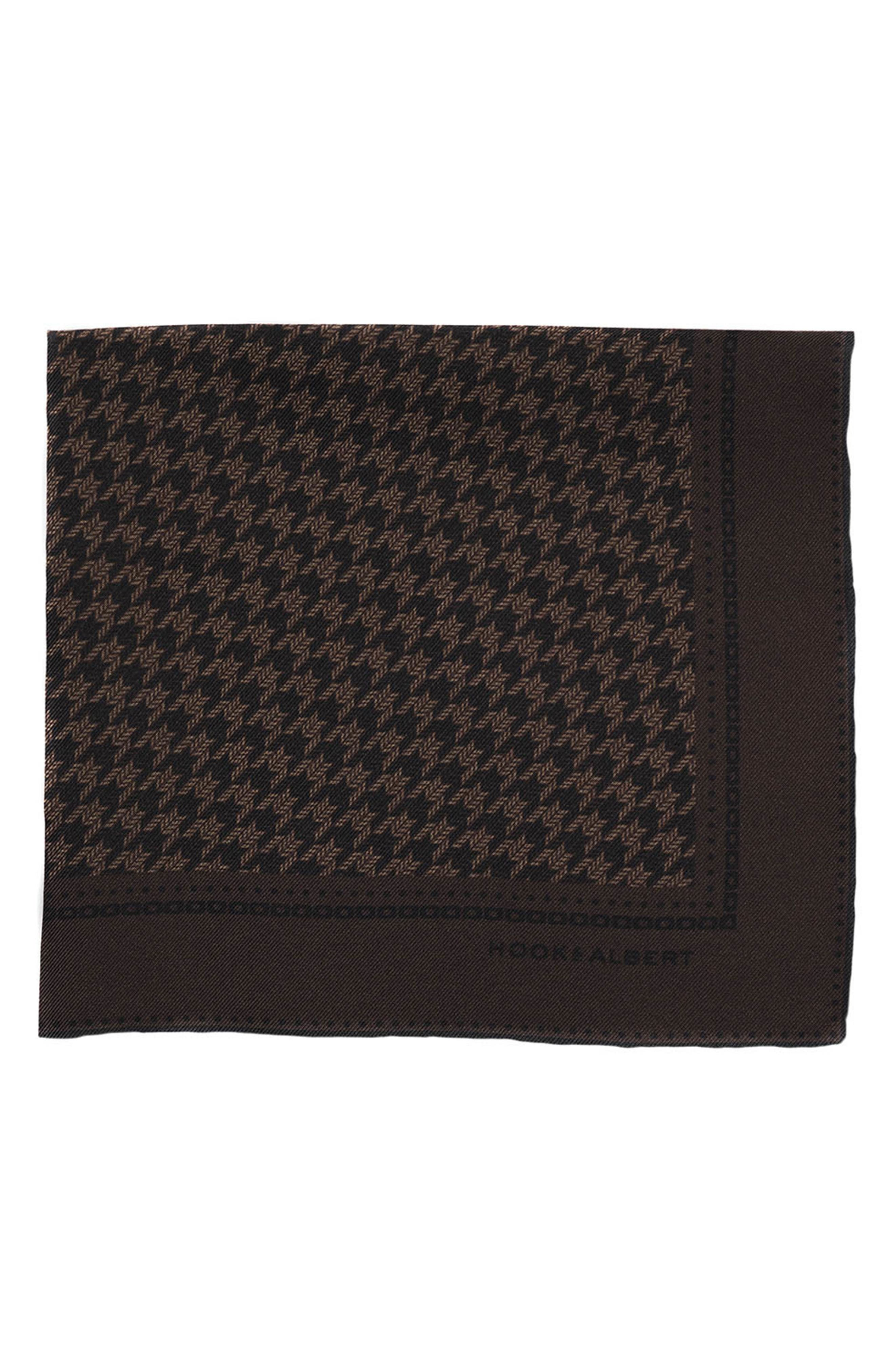 Houndstooth Silk Pocket Square,                             Main thumbnail 1, color,                             BROWN
