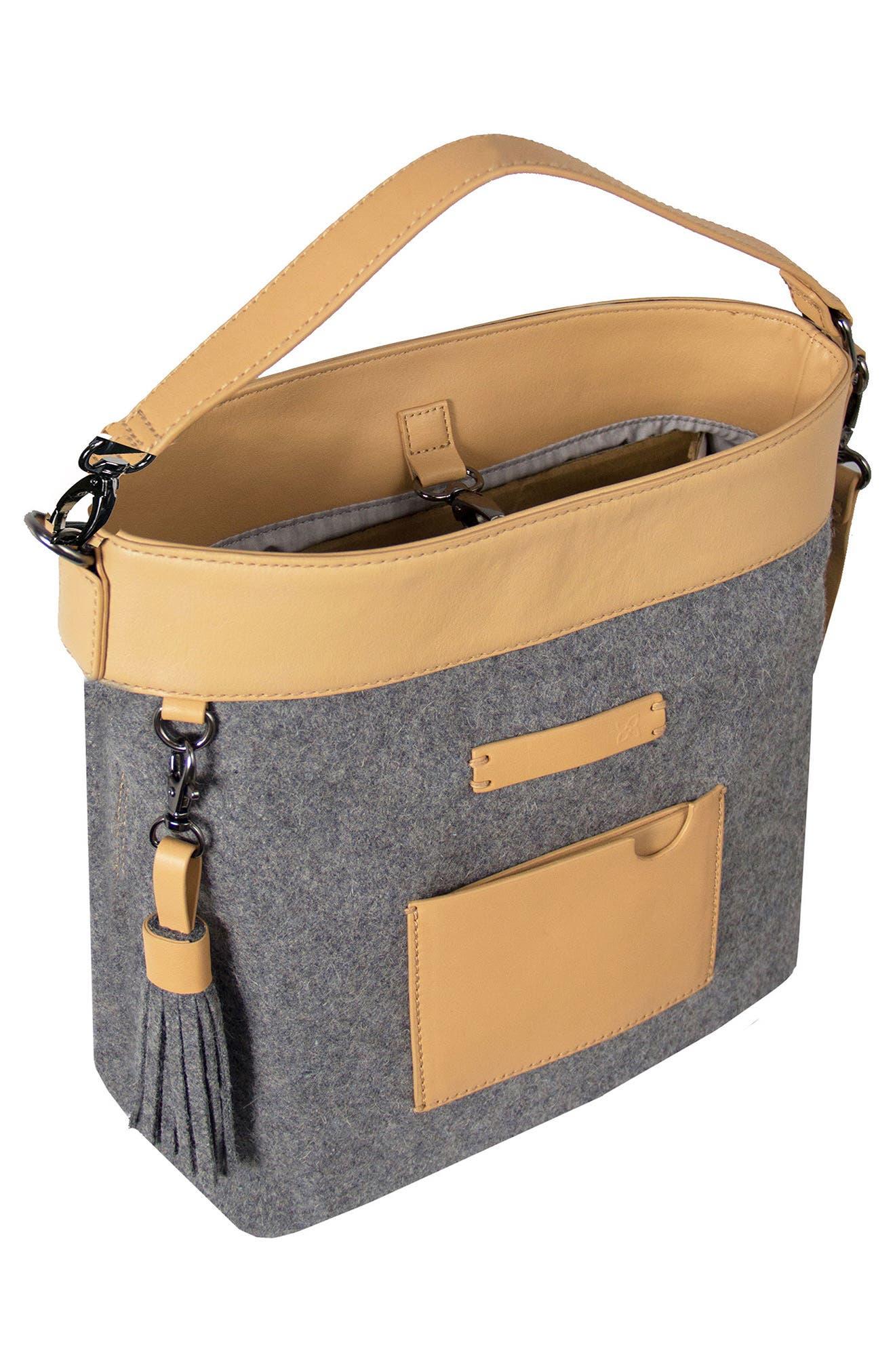 Boheme Wool & Leather Convertible Crossbody Bag,                             Alternate thumbnail 7, color,