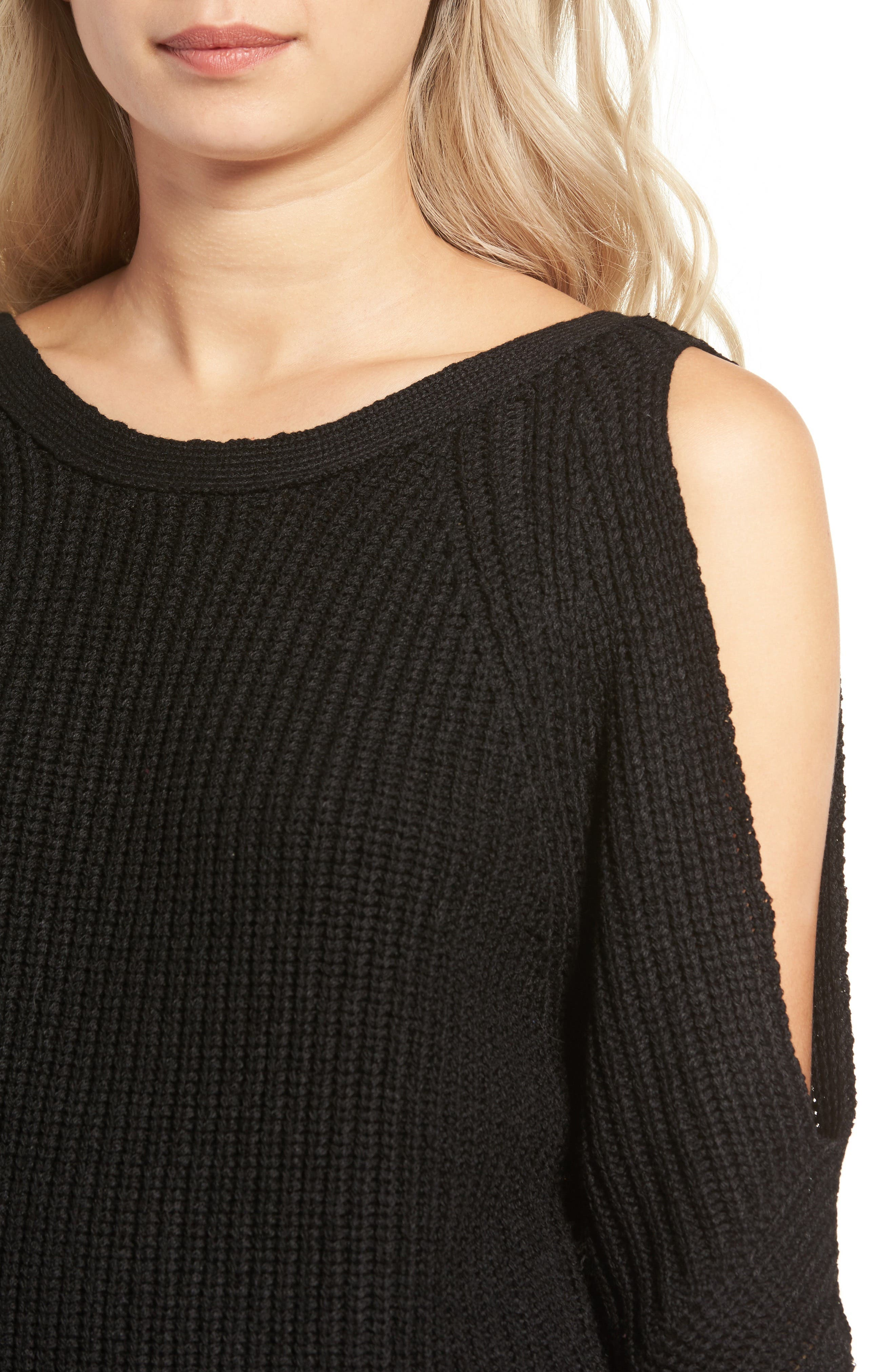 Cold Shoulder Sweater,                             Alternate thumbnail 4, color,                             001