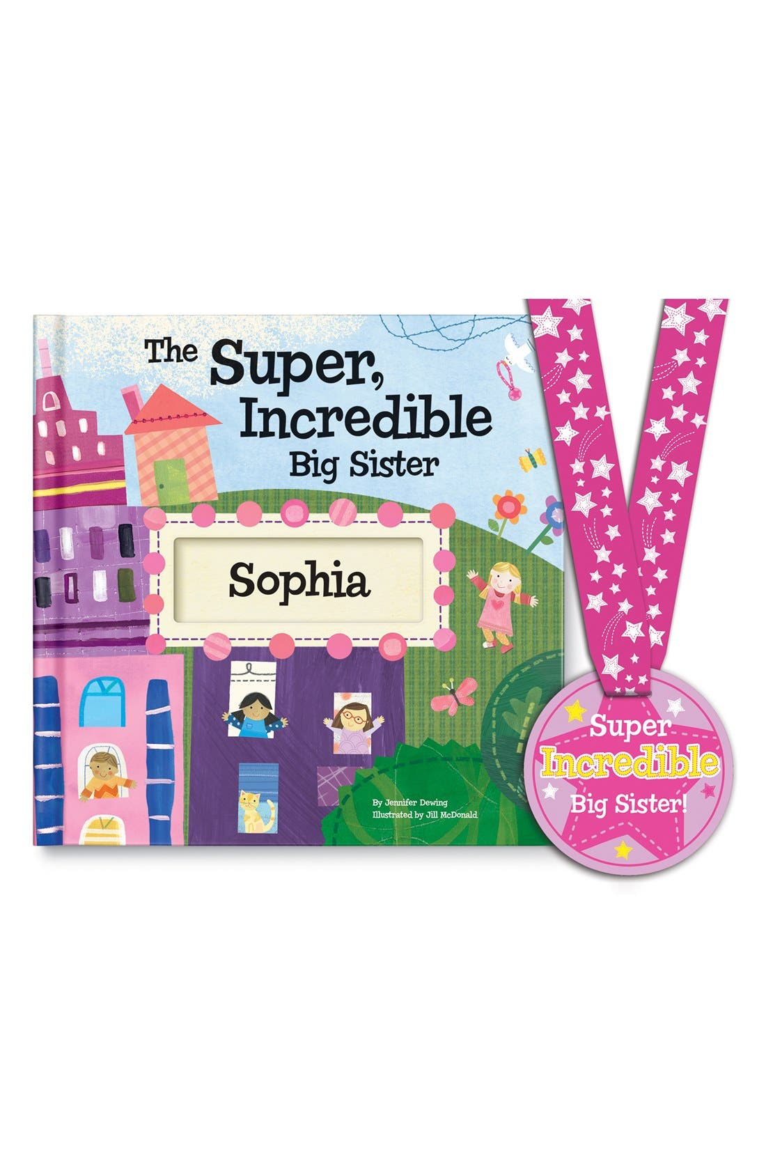 'The Super, Incredible Big Sister' Personalized Hardcover Book & Medal,                             Main thumbnail 1, color,                             PINK