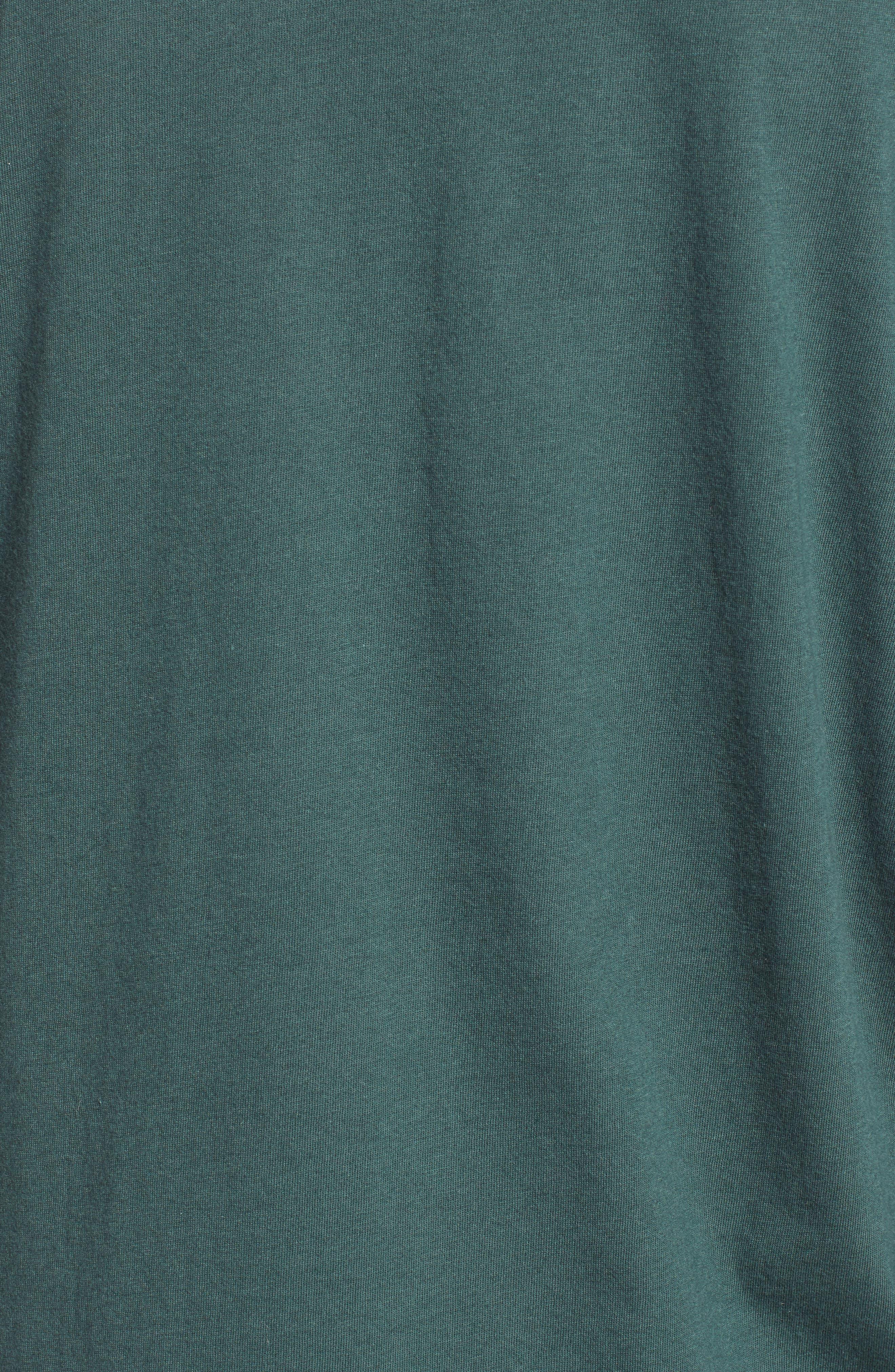 Varsity Stripe Cotton Tee,                             Alternate thumbnail 5, color,                             GREEN GABLES/ WHITE COMBO